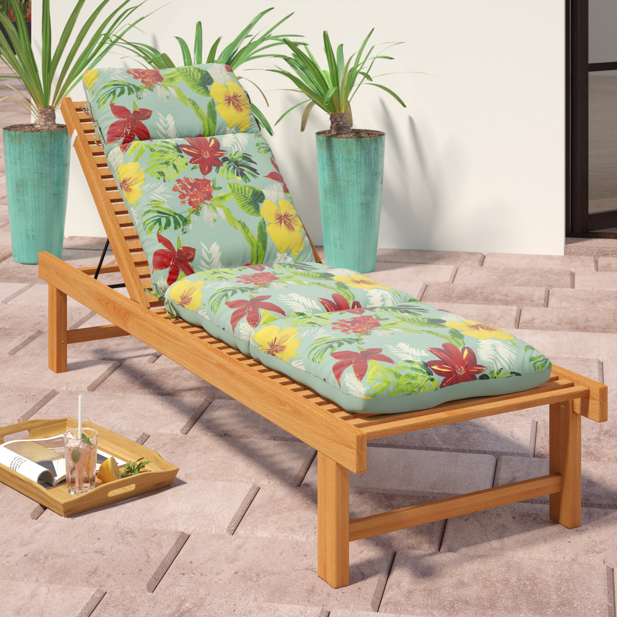 Details About Bayou Breeze Tropical Reversible Outdoor Chaise Lounge Cushion Inside Well Liked Jamaica Outdoor Wicker Chaise Lounges With Cushion (View 23 of 25)