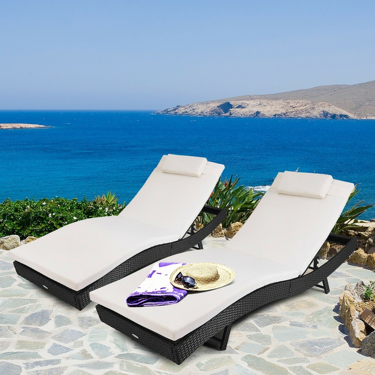 Details About Chaise Lounge Chair Adjustable Outdoor Pool Patio Furniture  Pe Wicker W/cushion Within 2020 Outdoor Adjustable Rattan Wicker Chaise Pool Chairs With Cushions (View 7 of 25)
