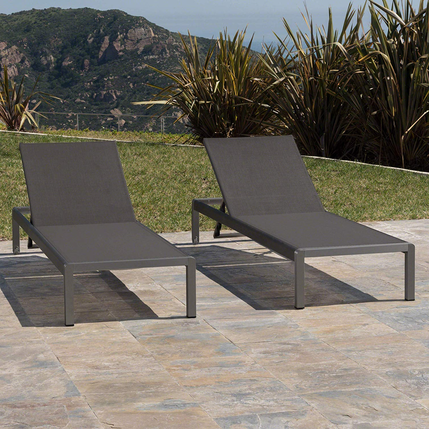 Details About Christopher Knight Home Crested Bay Patio Furniture, Outdoor Grey Aluminum With Pertaining To 2019 Myers Outdoor Aluminum Mesh Chaise Lounges (View 19 of 25)