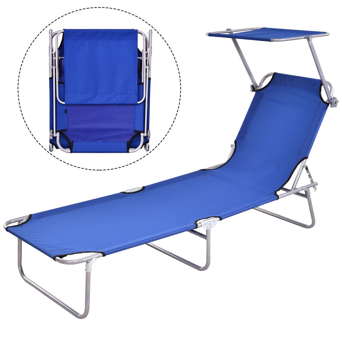 Details About Folding Outdoor Relax Chaise Lounge Beach Chair Bed Camping Recliner W/canopy Within Popular Folding Patio Lounge Beach Chairs With Canopy (View 9 of 25)