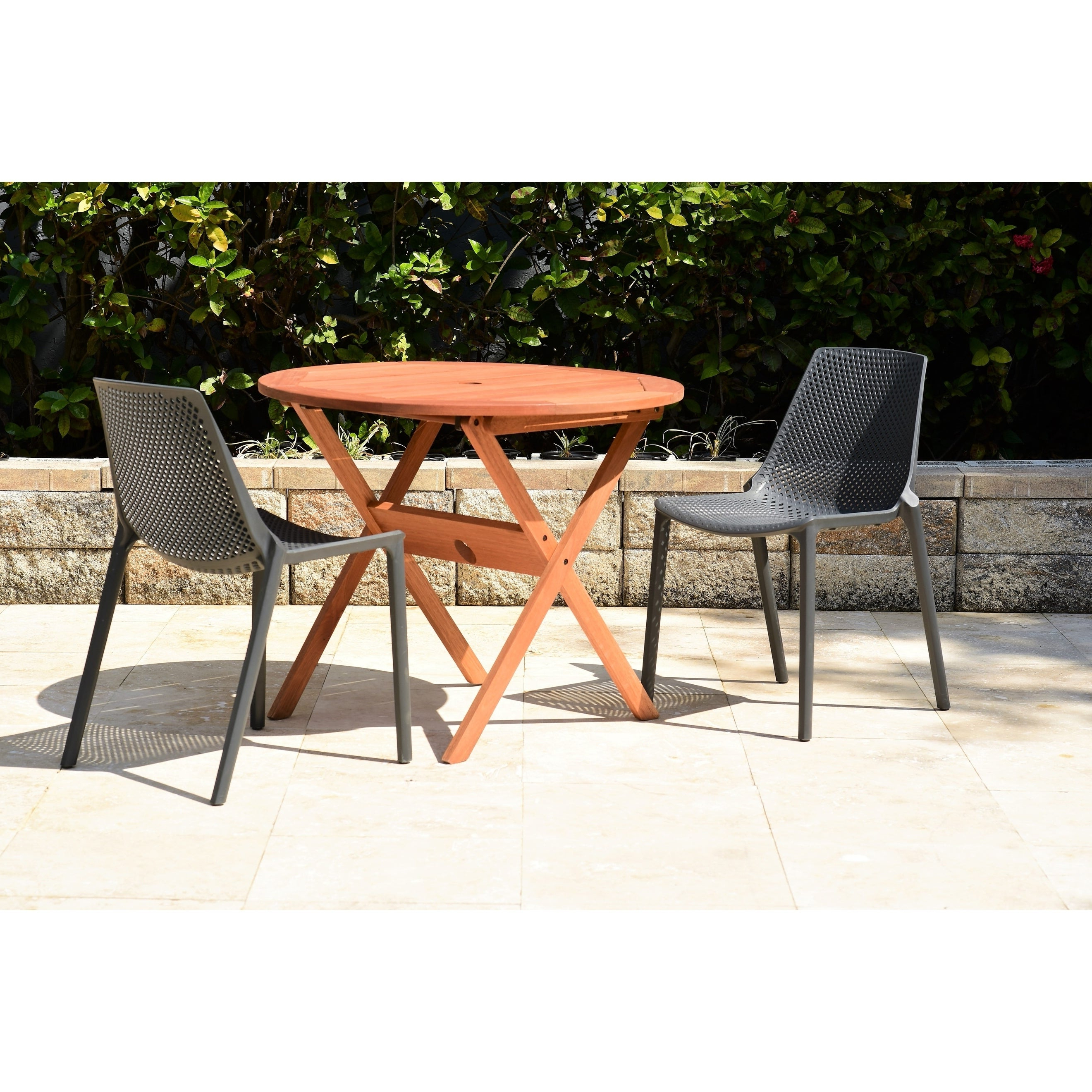 Details About Havenside Home Posorja 3 Piece Round Folding Table Patio Grey Throughout Widely Used Havenside Home Tottenville Eucalyptus Loungers (View 12 of 25)