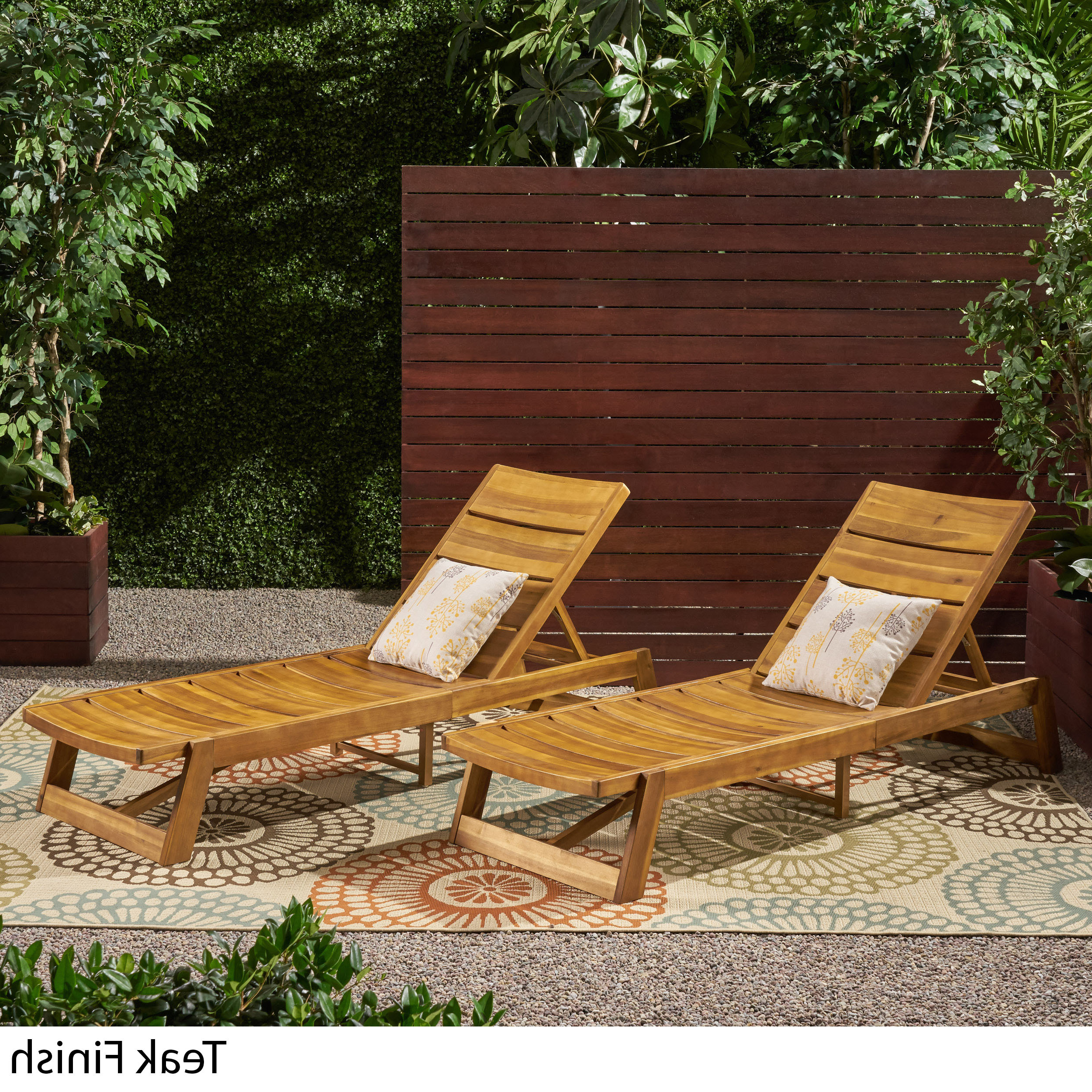Details About Maki Outdoor Wood And Iron Chaise Lounges (set Of 2) In Best And Newest Maki Outdoor Wood Chaise Lounges (View 4 of 25)
