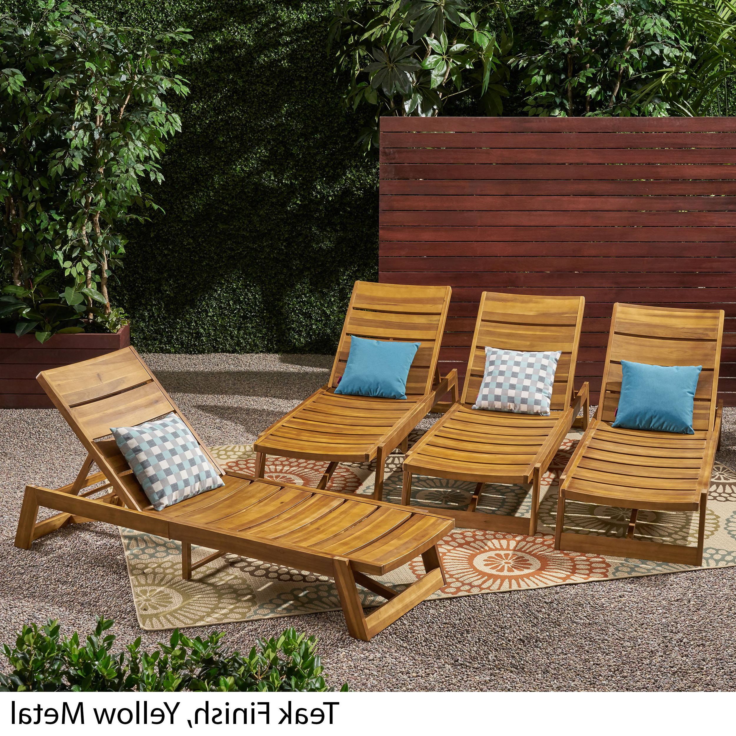 Details About Melissa Outdoor Acacia Wood Chaise Lounge (set Of 4) In Most Recent Outdoor 3 Piece Acacia Wood Chaise Lounge Sets (Gallery 1 of 25)