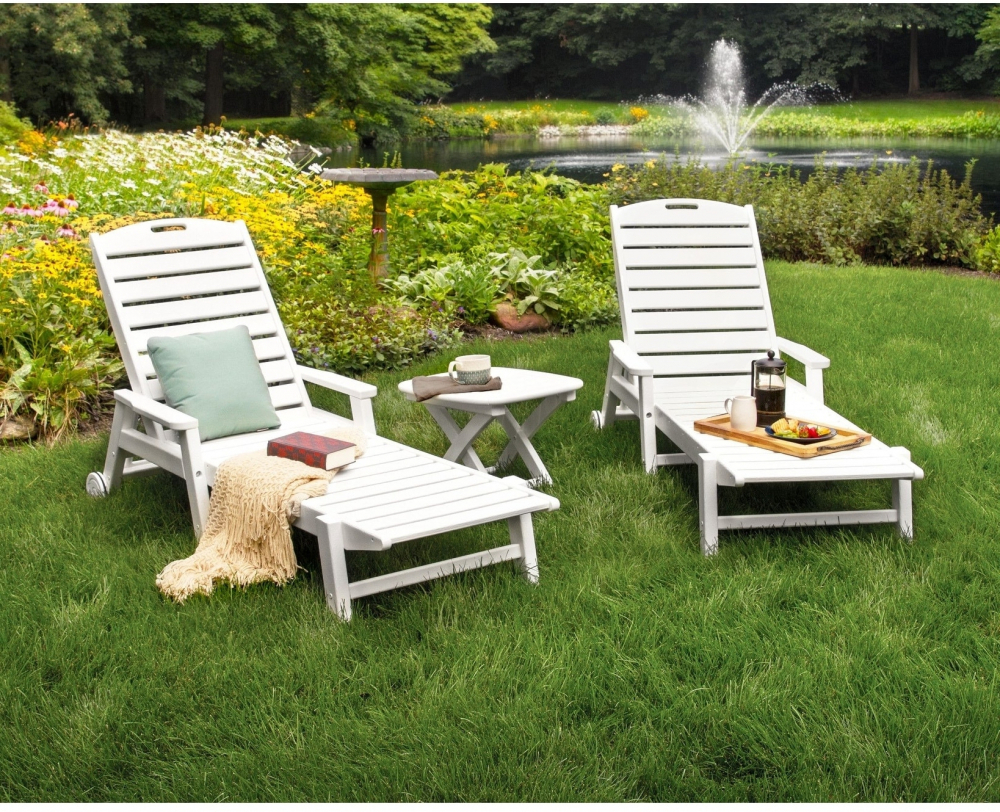 Details About Polywoood Outdoor Wheeled Lounge Set 3 Piece Water Resistant Furniture (white) In Well Known Nautical Wheeled Stackable Chaise Lounges (View 21 of 25)