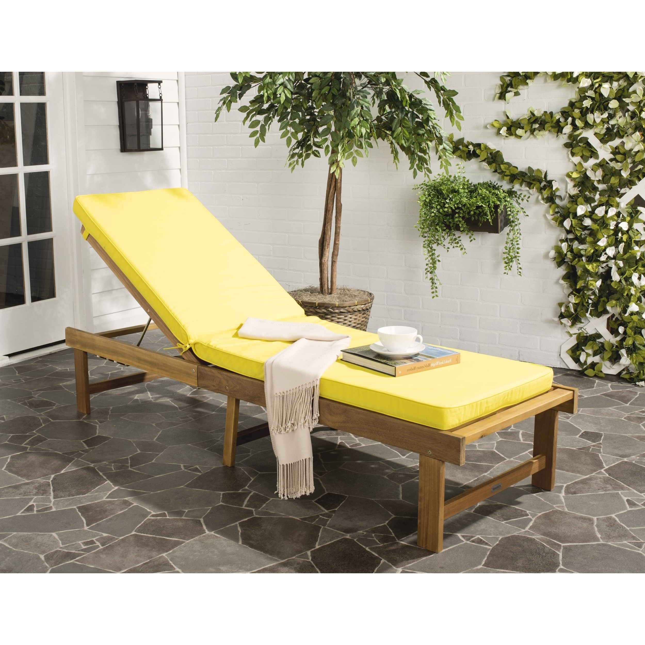 Details About Safavieh Inglewood Outdoor Brown/yellow Chaise Lounge Chair –  0 Pertaining To 2020 Outdoor Living Inglewood Brown Acacia Wood Beige Cushion Lounge Chairs (View 8 of 25)