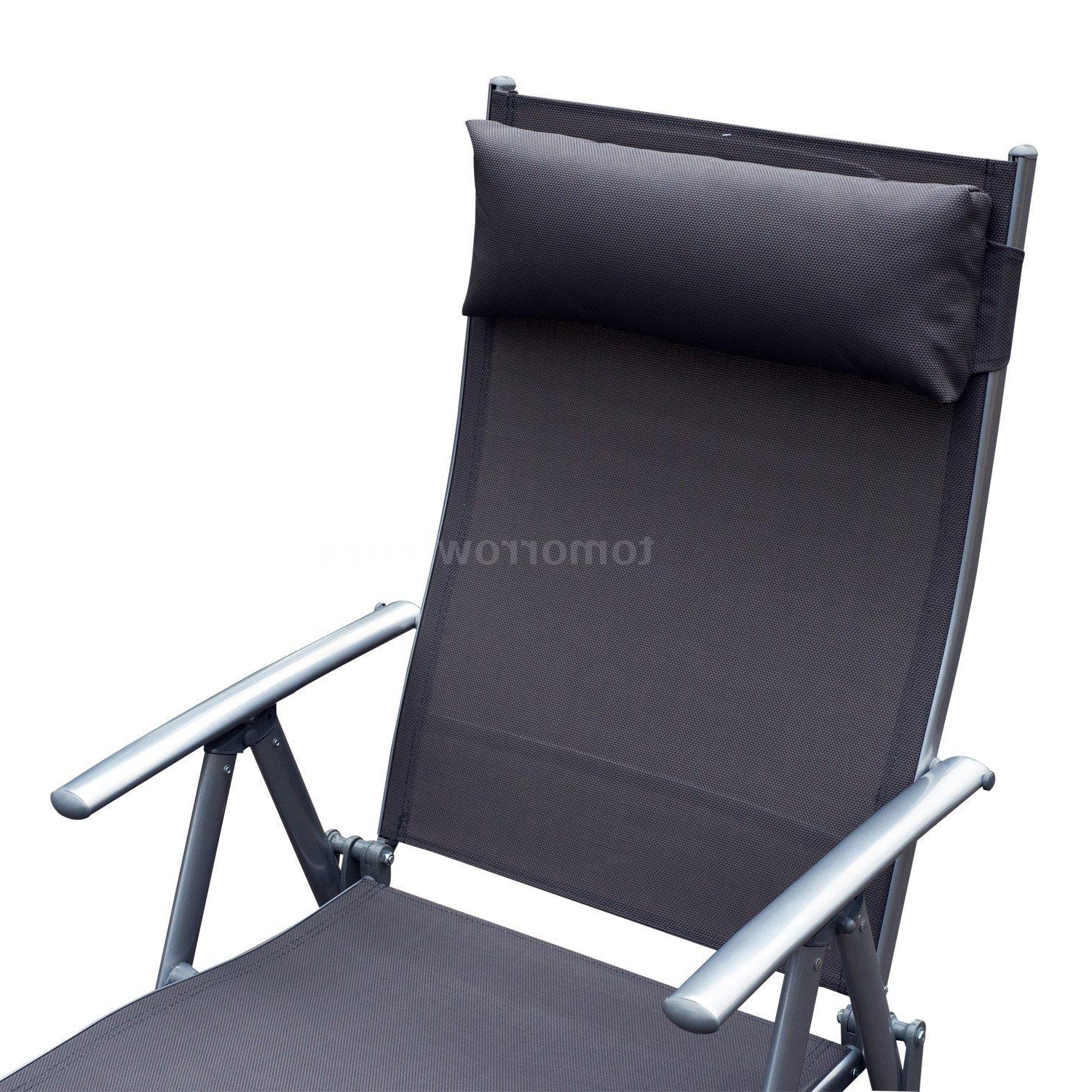 Details About Steel Sling Fabric Outdoor Folding Chaise Lounge Chair  Recliner – Grey K5C3 With Favorite Steel Sling Fabric Outdoor Folding Chaise Lounges (View 1 of 25)