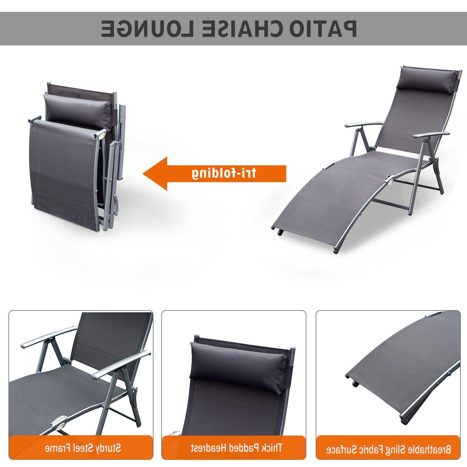 Details About Steel Sling Fabric Outdoor Folding Chaise Lounge Chair Recliner – Grey K5c3 With Well Known Steel Sling Fabric Outdoor Folding Chaise Lounges (View 7 of 25)