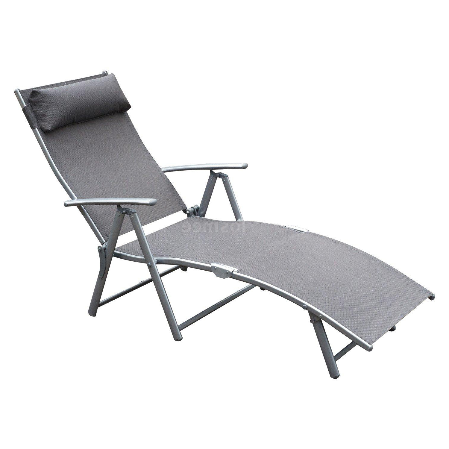Details About Steel Sling Fabric Outdoor Folding Chaise Lounge Chair Recliner – Grey Y4l1 Throughout Famous Black Sling Fabric Adjustable Chaise Lounges (Gallery 23 of 25)