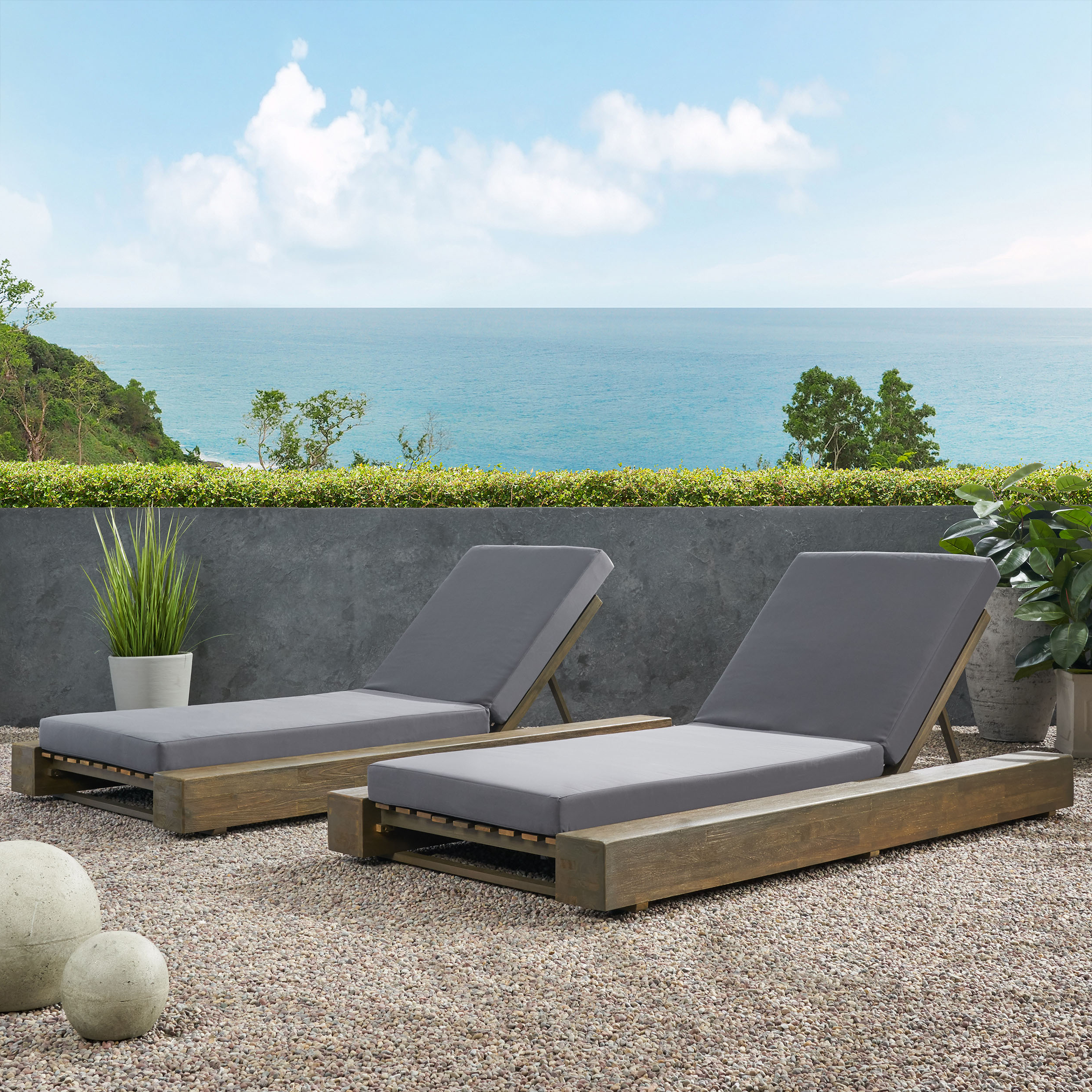 Details About Ursula Outdoor Acacia Wood Chaise Lounge And Cushion Sets  (Set Of 2) Intended For Preferred Outdoor Acacia Wood Chaise Lounges And Cushion Sets (View 5 of 25)