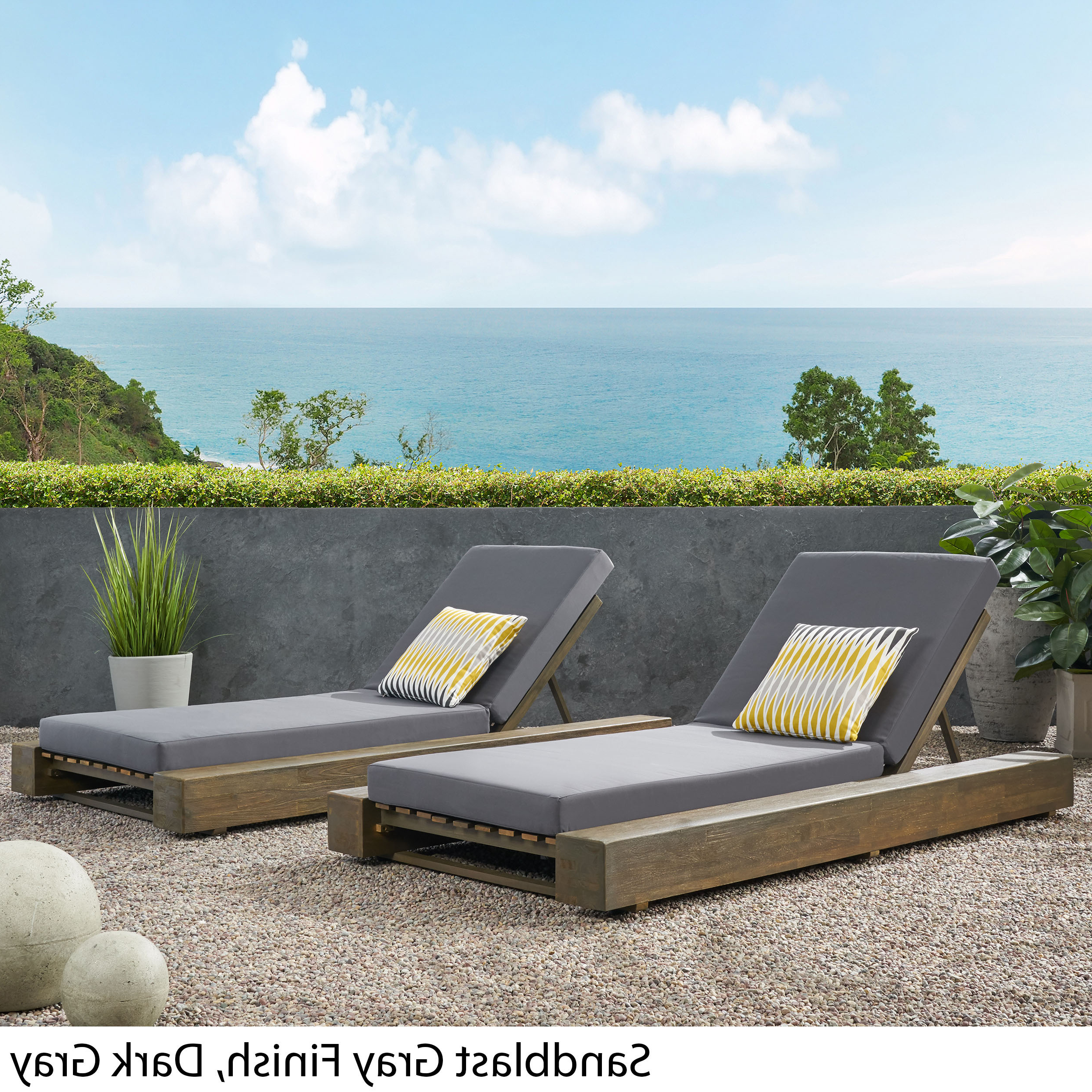 Details About Ursula Outdoor Acacia Wood Chaise Lounge And Cushion Sets (set Of 2) With 2020 Outdoor Acacia Wood Chaise Lounges With Cushion (View 19 of 25)