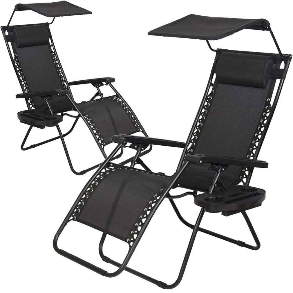 Double Reclining Lounge Chairs With Canopy In Most Current 2 Pcs Zero Gravity Chair Lounge Patio Chairs With Canopy Cup Holder (View 20 of 25)
