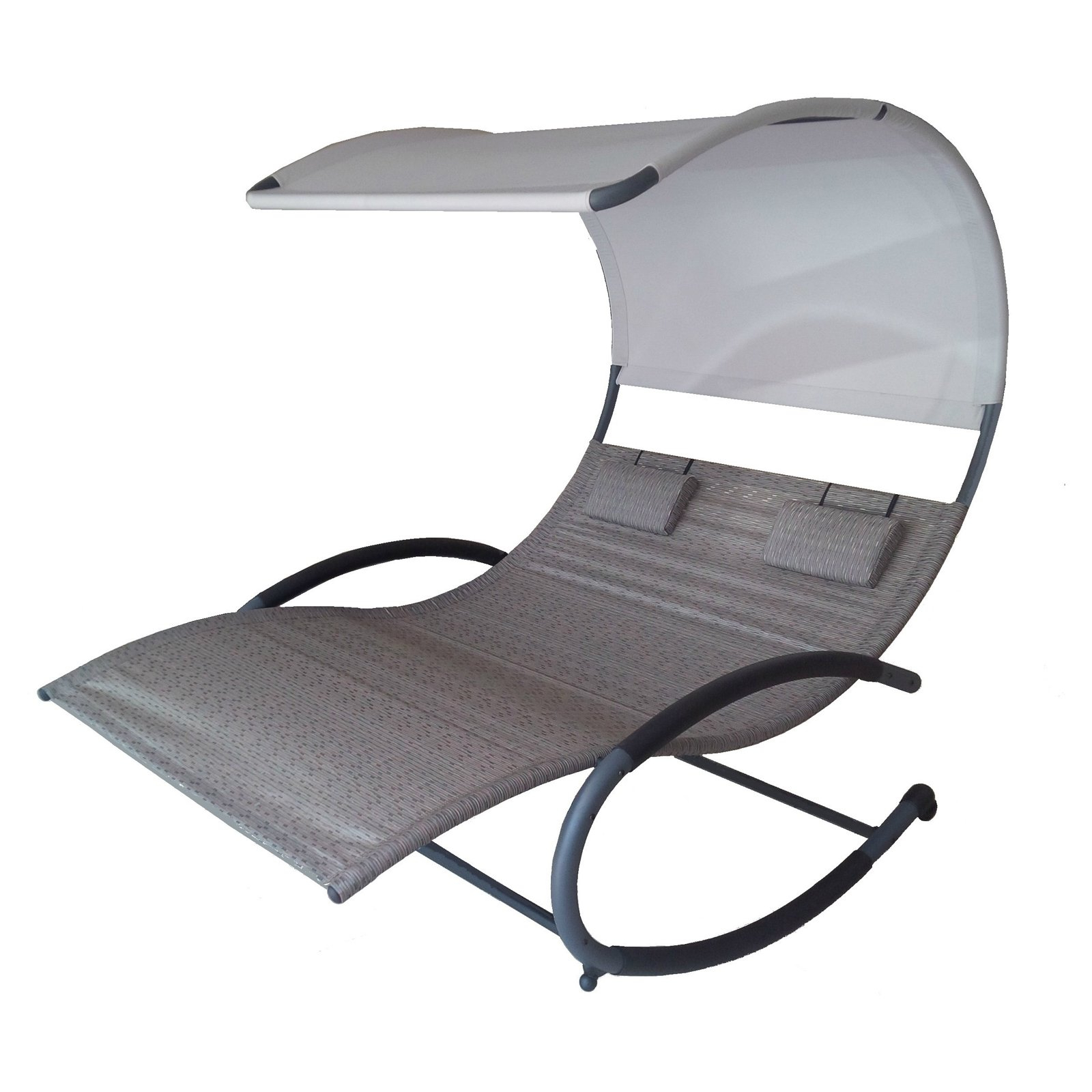 Double Reclining Lounge Chairs With Canopy Inside Current Outdoor Vivere Double Chaise Lounge Rocker With Canopy (View 17 of 25)