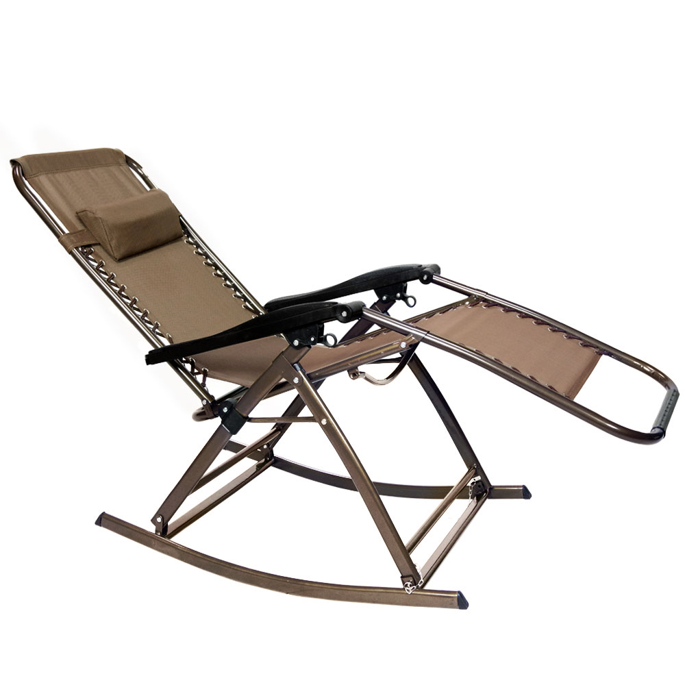 Easy Outdoor Rocking Lounge Chairs Intended For Best And Newest Loadstone Studio Infinity Zero Gravity Rocking Chair Outdoor Lounge Patio Folding Reclining Chair , Brown , Wmls2372 (Gallery 10 of 25)