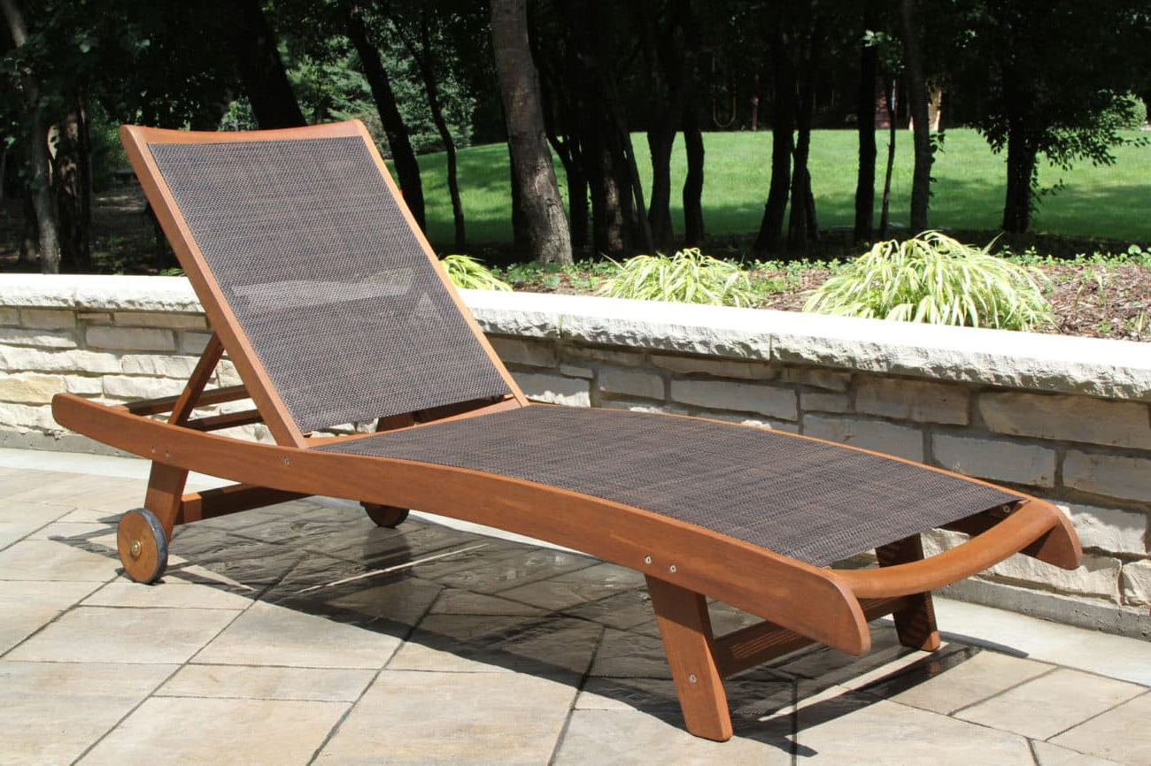 Eucalyptus Hardwood & Brown Sling Chaise Lounge Chair Pertaining To Popular Eucalyptus Teak Finish Outdoor Chaise Loungers With Cushion (View 14 of 25)