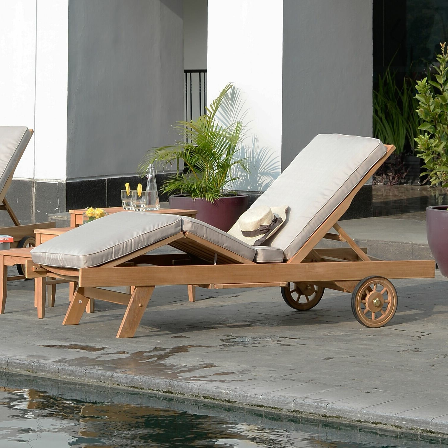 Eucalyptus Teak Finish Outdoor Chaise Loungers With Cushion Throughout Famous Summerton Reclining Teak Chaise Lounge With Cushion (View 15 of 25)