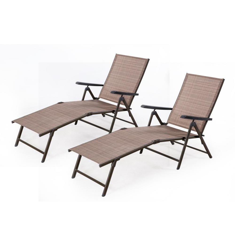 Fabric Reclining Outdoor Chaise Lounges In Favorite Crawford & Burke Cusco Brown Reclining Metal Outdoor Chaise Lounge With Tan Cushions (set Of 2) (View 17 of 25)