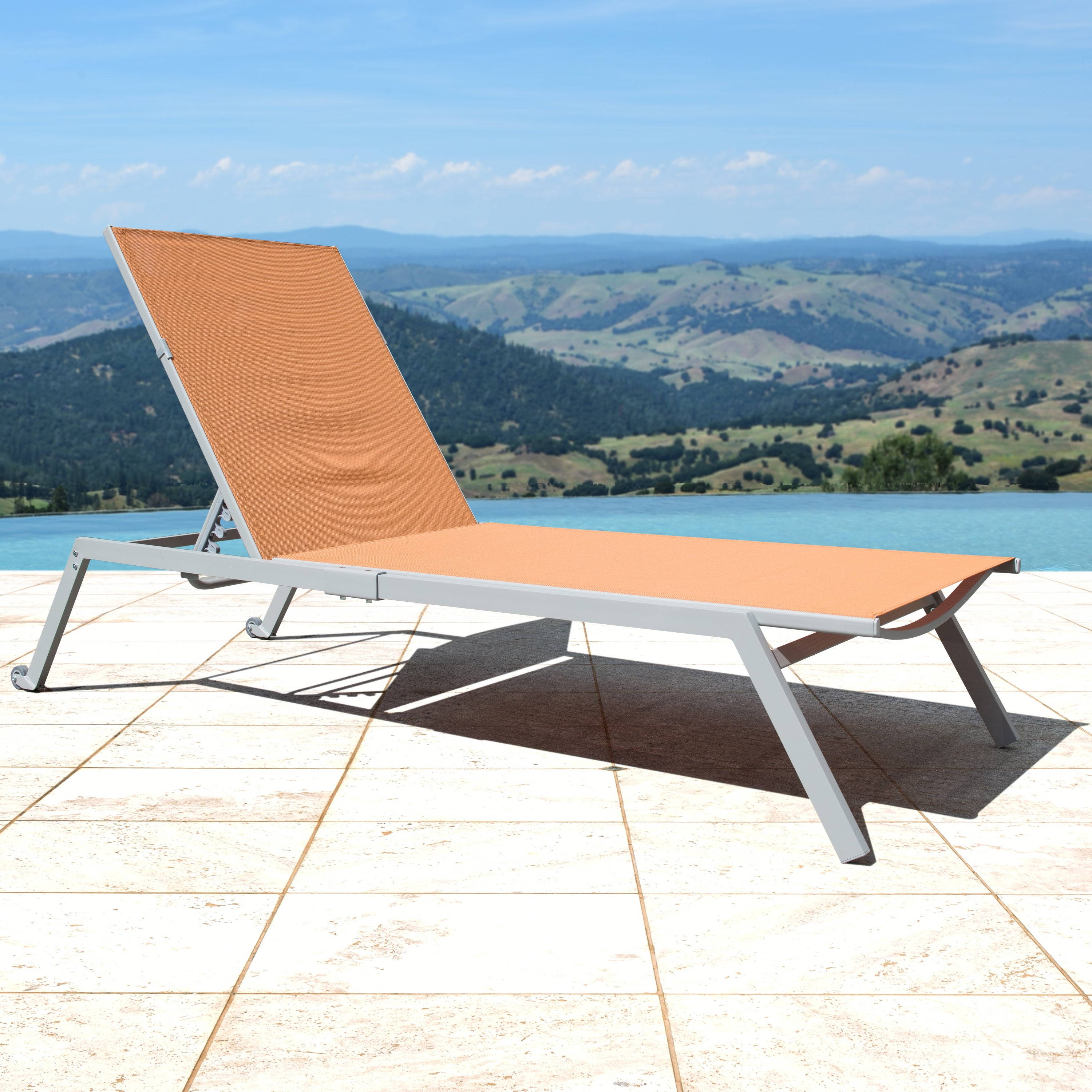 Fabric Reclining Outdoor Chaise Lounges Pertaining To Most Recently Released Corvus Torino Sling Fabric Reclining Outdoor Chaise Lounges (set Of 4) (View 6 of 25)