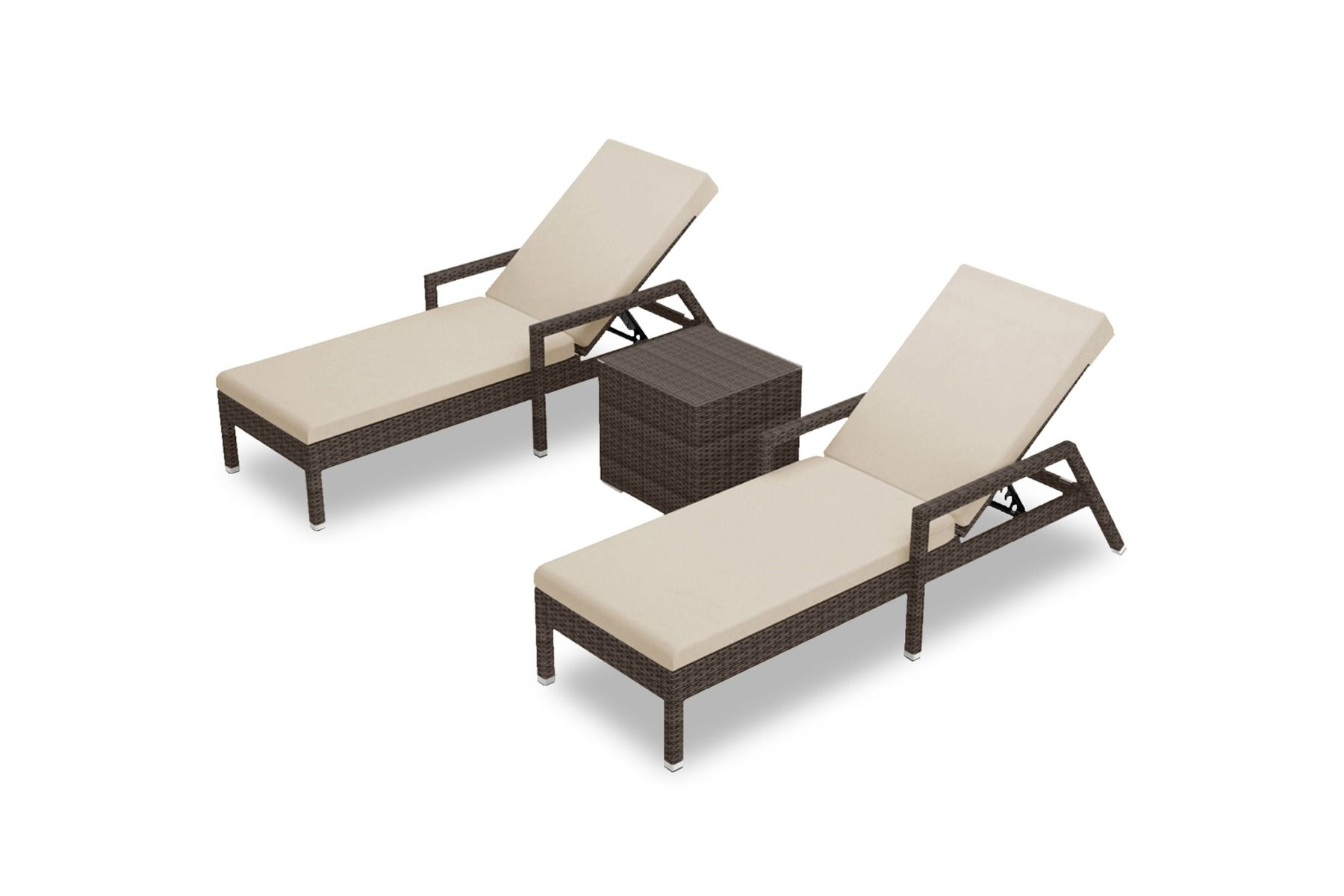 Fabric Reclining Outdoor Chaise Lounges Within Latest Arden 3 Pc (View 12 of 25)