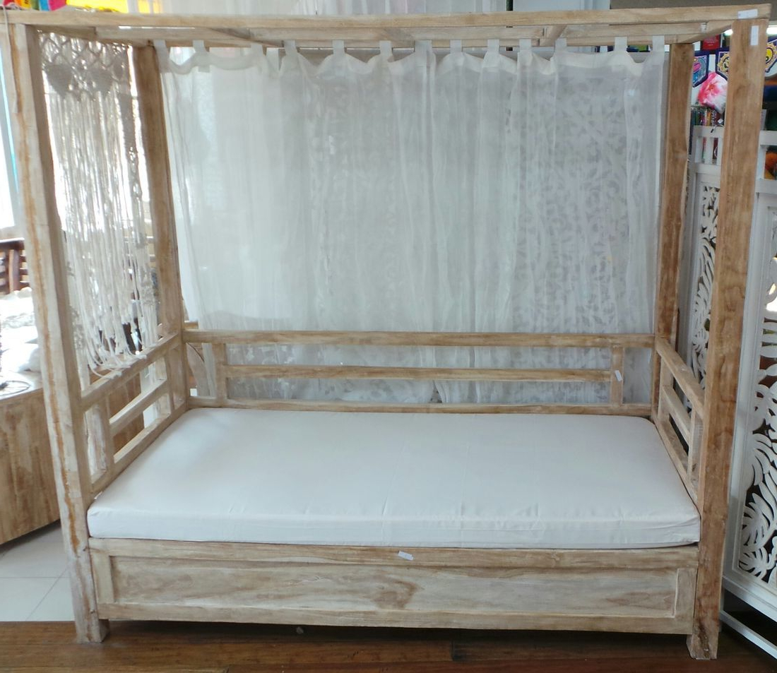 Famous Bamboo Daybeds With Canopy With Elde Single Canopy Teak Daybed Creamwash (View 23 of 25)