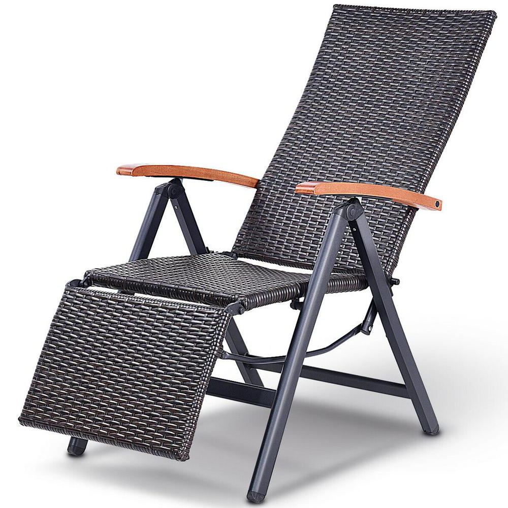 Famous Brown Folding Patio Chaise Lounger Chairs Regarding Costway Brown 1 Piece Folding Metal Aluminum Adjustable Outdoor Chaise  Lounge Rattan Garden Patio Recliner Chair (View 12 of 25)