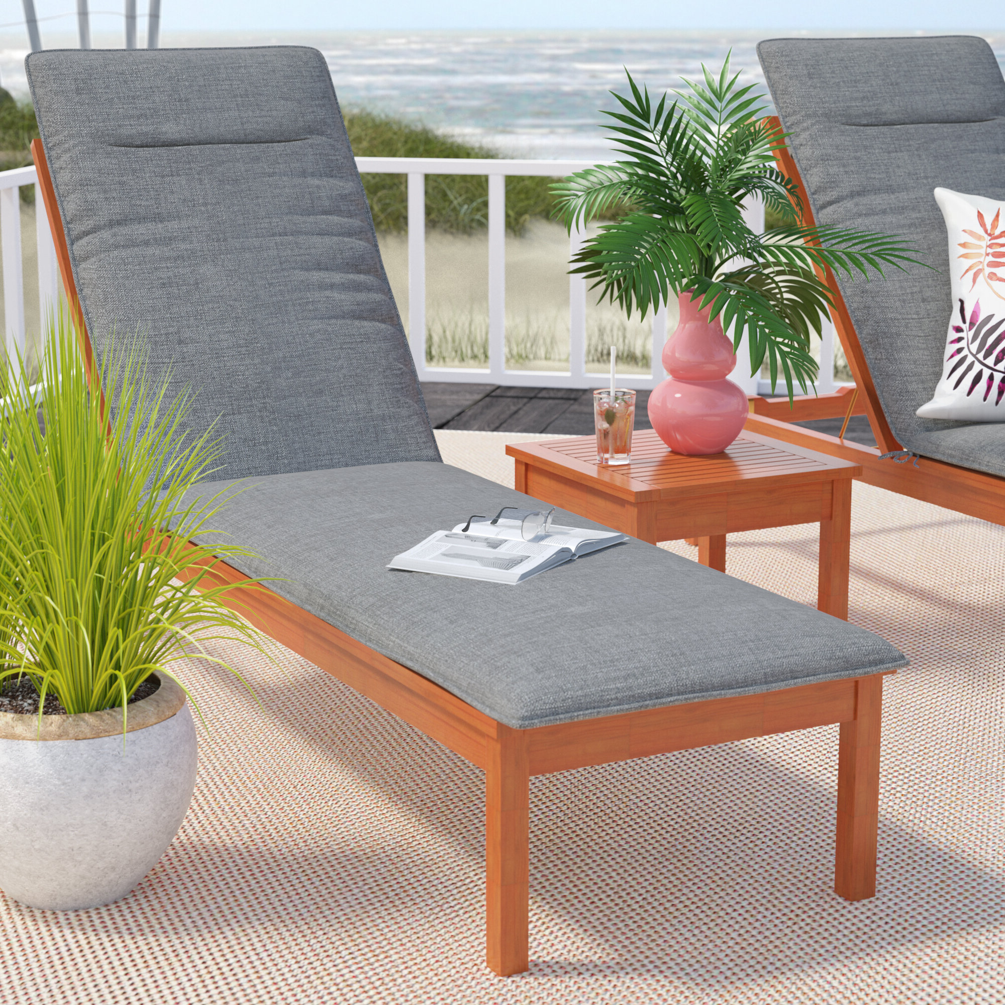 Famous Cape Coral Outdoor Chaise Lounges With Cushion Within Sol 72 Outdoor Brighton Indoor/outdoor Chaise Lounge Cushion (View 19 of 25)