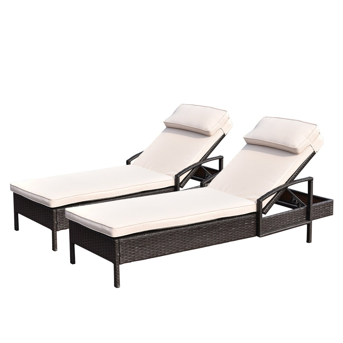 Famous Costway 2 Pcs Chaise Lounge Chair Brown Outdoor Rattan Couch Patio Furniture W/pillow With Resin Wicker Multi Position Double Patio Chaise Lounges (View 19 of 25)