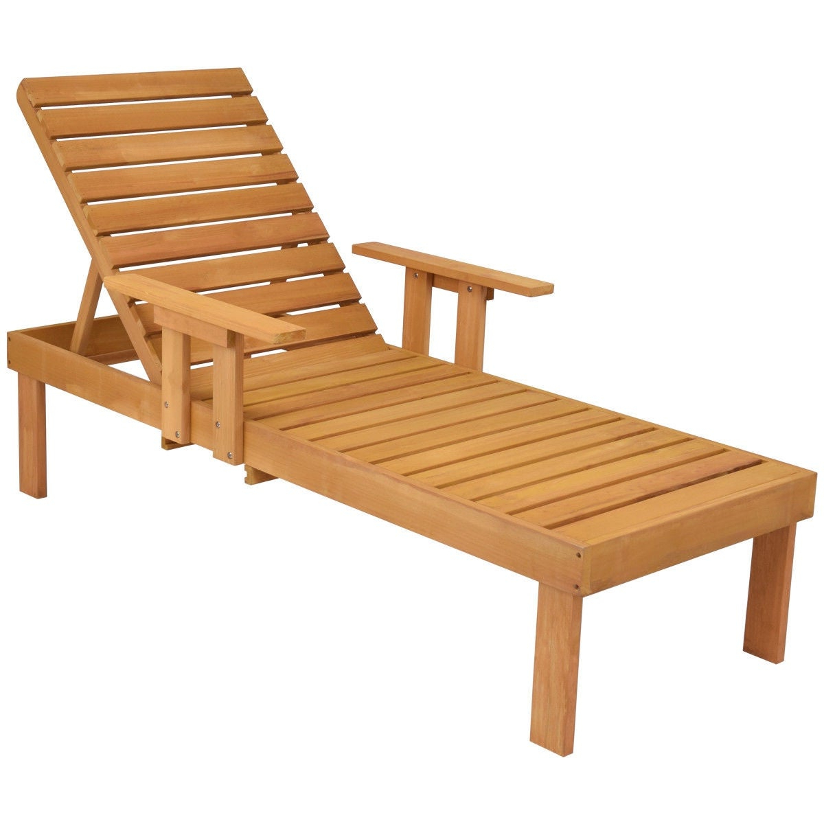 Famous Gymax Patio Chaise Wood Sun Lounger Bench Side Tray Side Beach Table Set – As Pic Inside Havenside Home Ormond Outdoor Hardwood Sun Loungers With Tray (View 24 of 25)
