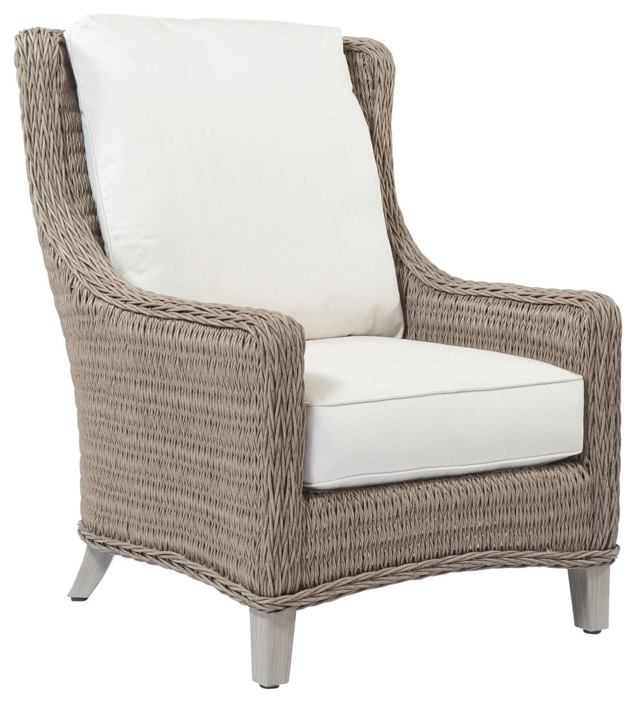 Famous Lake Geneva Wicker Club Chair In Ash Finish, Natural White Within Envisage Chaise Outdoor Patio Wicker Rattan Lounge Chairs (View 7 of 25)