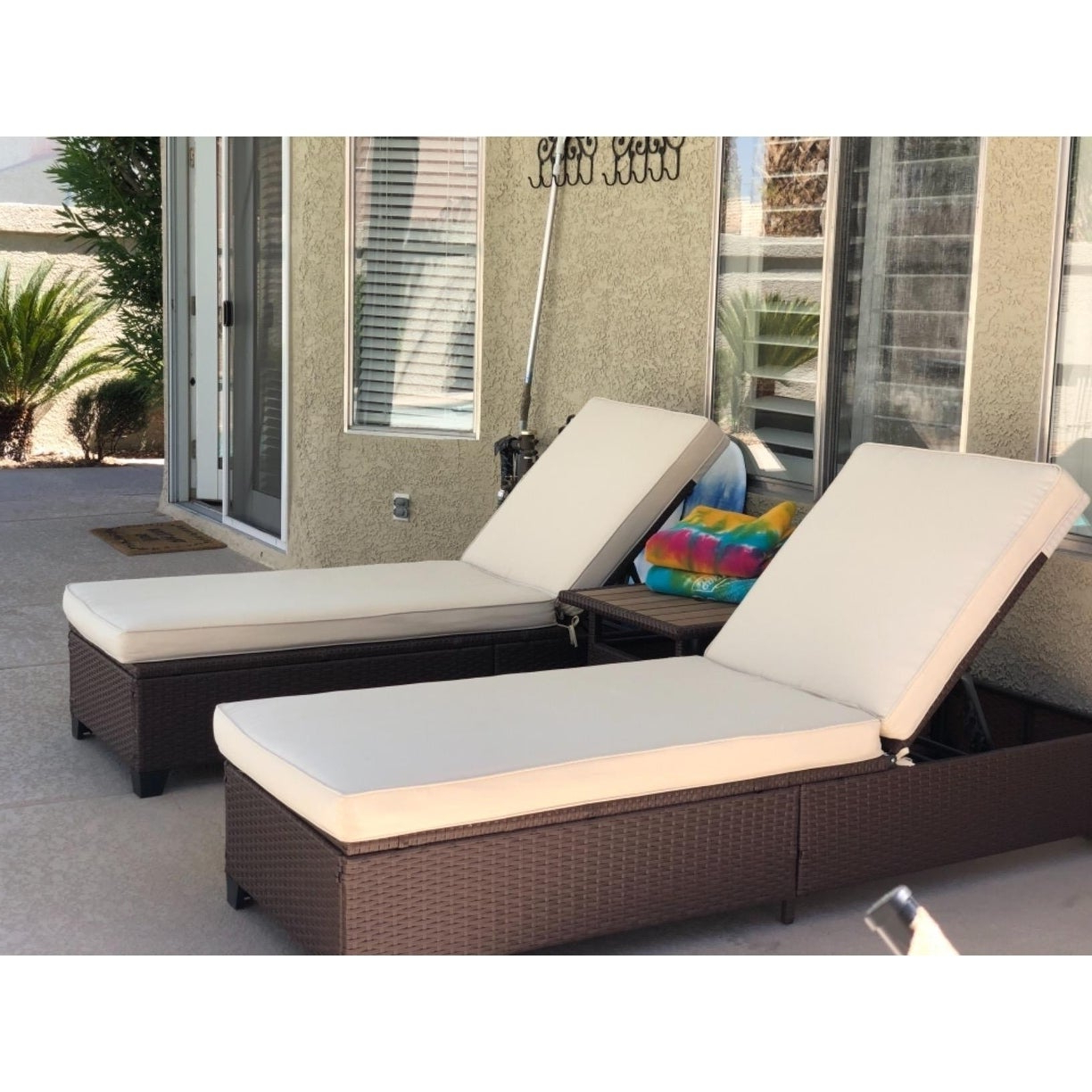 Famous Outdoor Adjustable Rattan Wicker Chaise Pool Chairs With Cushions In 3 Pc Outdoor Rattan Chaise Lounge Chair Patio Pe Wicker Rattan Furniture  Adjustable Garden Pool Lounge Chairs And Table (View 20 of 25)