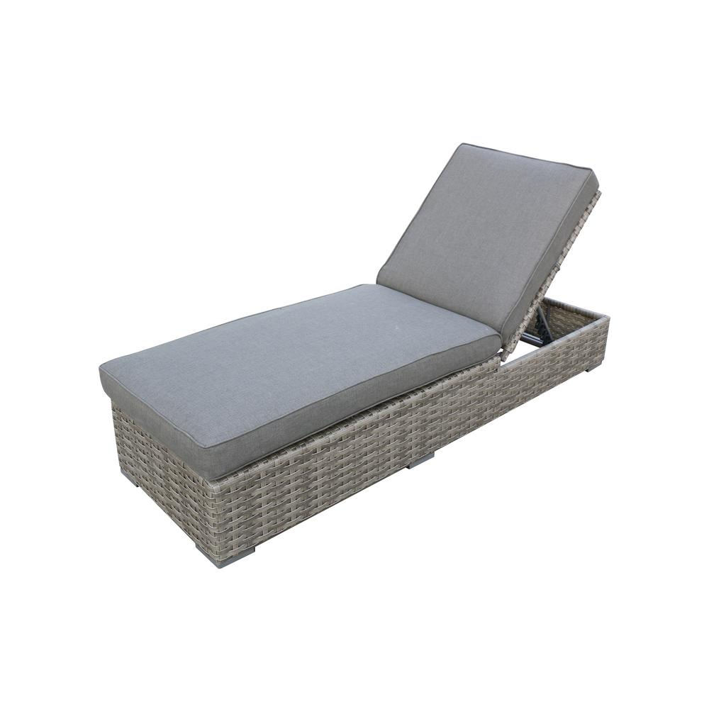 Famous Outdoor Wicker Adjustable Chaise Lounges With Cushions Intended For Envelor Bali Adjustable Wicker Outdoor Chaise Lounge With Olefin Charcoal  Grey Cushions (View 7 of 25)