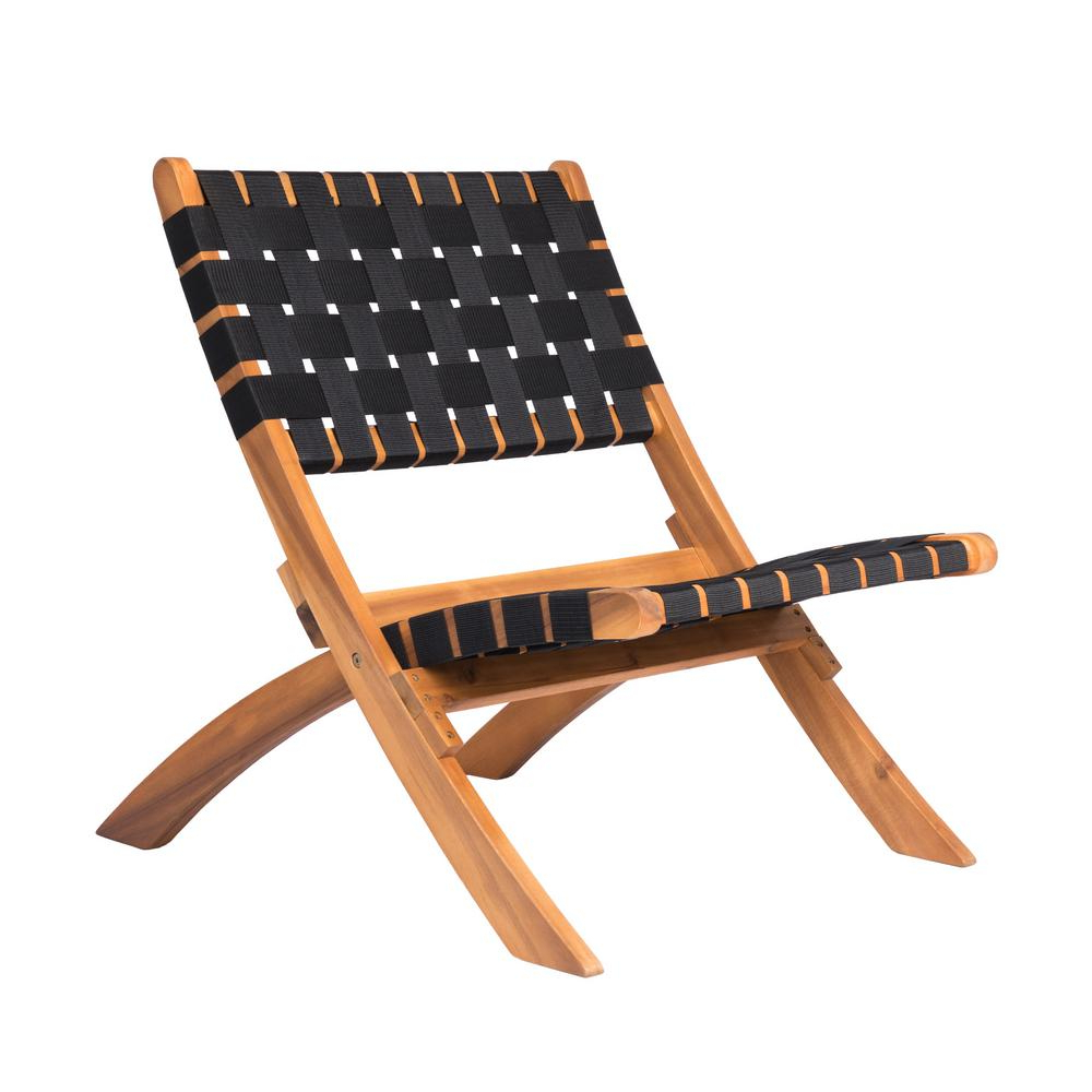Famous Outdoor Yard Pool Recliner Folding Lounge Table Chairs Throughout Patio Sense Sava Foldable Wood Outdoor Natural Black Web Lounge Chair (View 6 of 25)