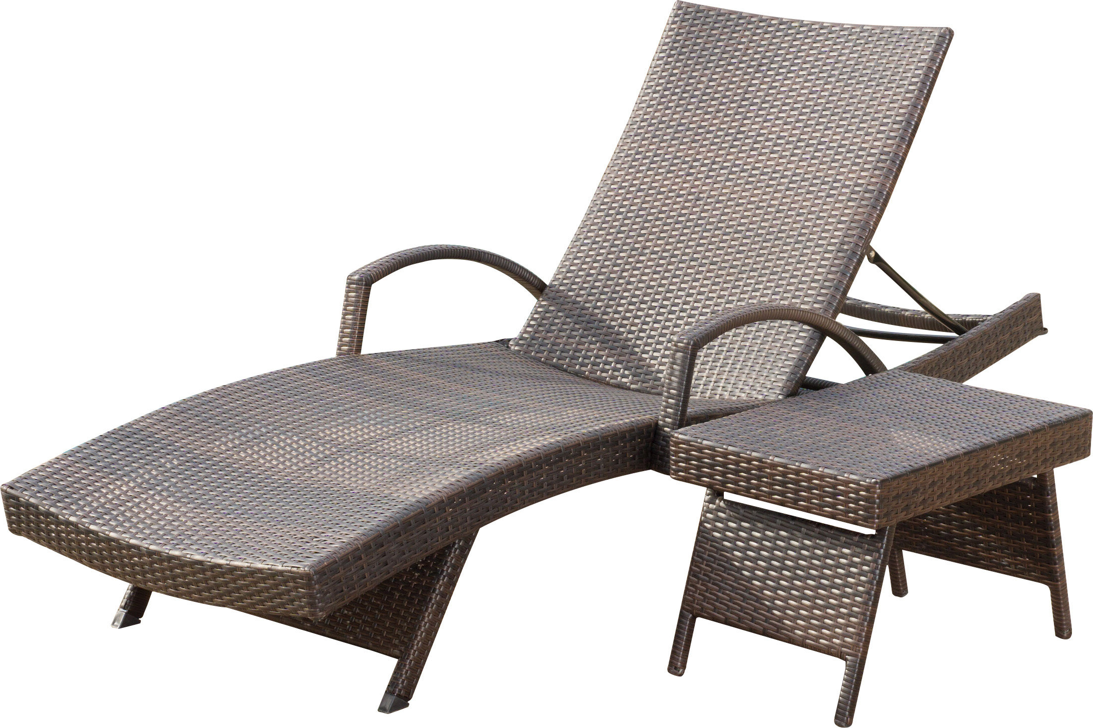 Famous Rebello Adjustable Wicker Reclining Chaise Lounge With Table Within Outdoor Wicker Chaise Lounge Chairs (View 5 of 25)