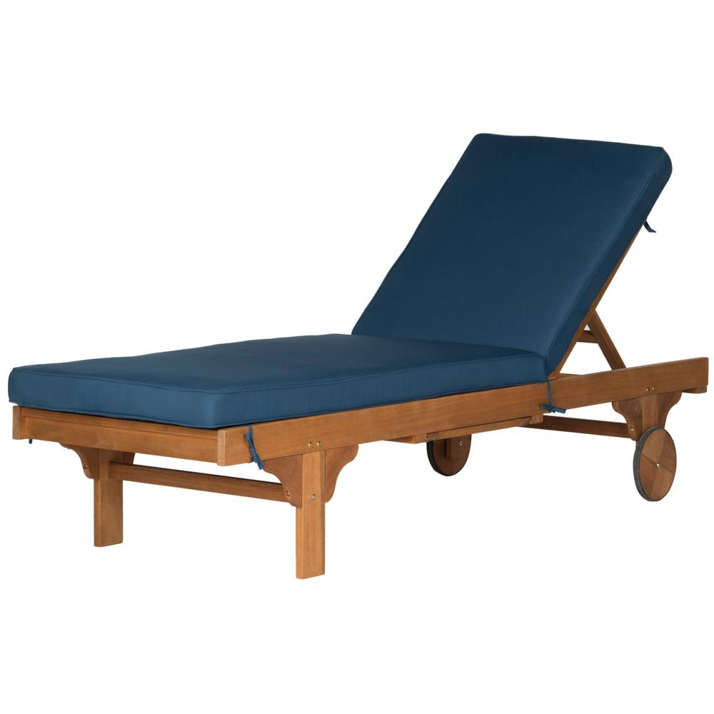 Famous Safavieh Newport Natural Brown Adjustable Wood Outdoor Lounge Chair With  Navy Cushion Inside Outdoor Cart Wheel Adjustable Chaise Lounge Chairs (View 7 of 25)