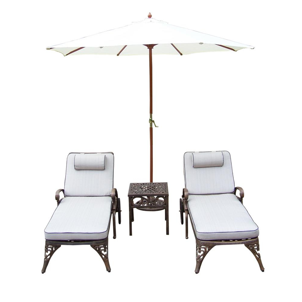 Famous Striped Outdoor Chaises With Umbrella Inside 5 Piece Cast Aluminum Outdoor Chaise Lounge Set With Tan Cushions And White Umbrella (View 7 of 25)