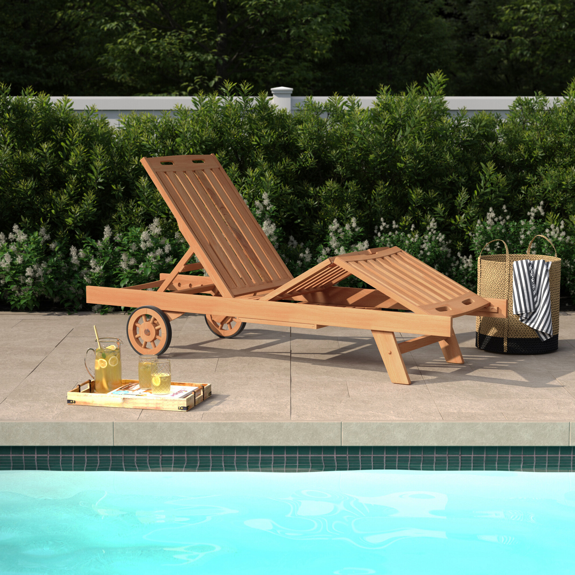 Famous Summerton Reclining Teak Chaise Lounge Throughout Teak Chaise Loungers (View 21 of 25)