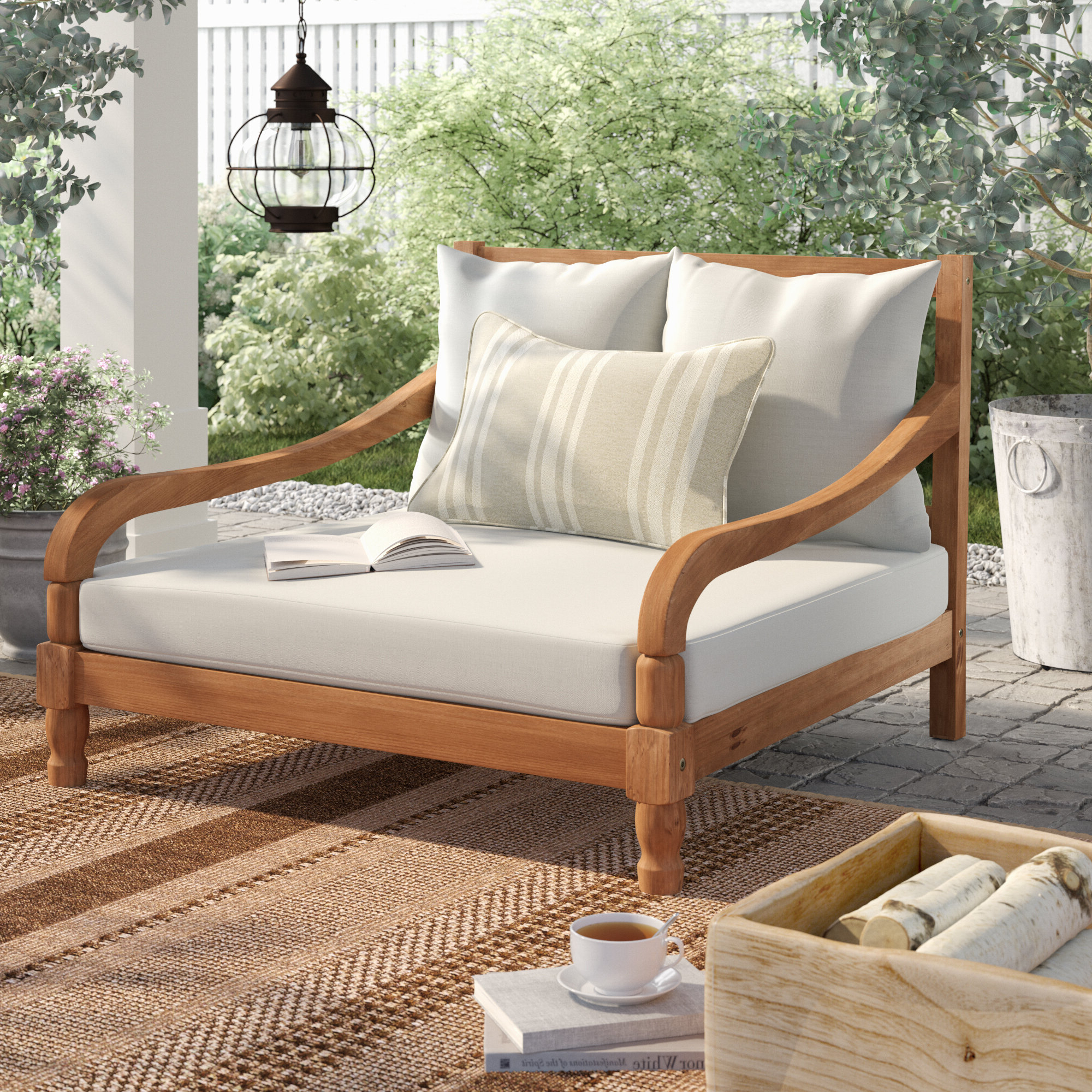 Famous Wiest Double Chaise Lounge With Cushion Throughout Wood Blue And White Cushion Outdoor Chaise Lounge Chairs (View 8 of 25)