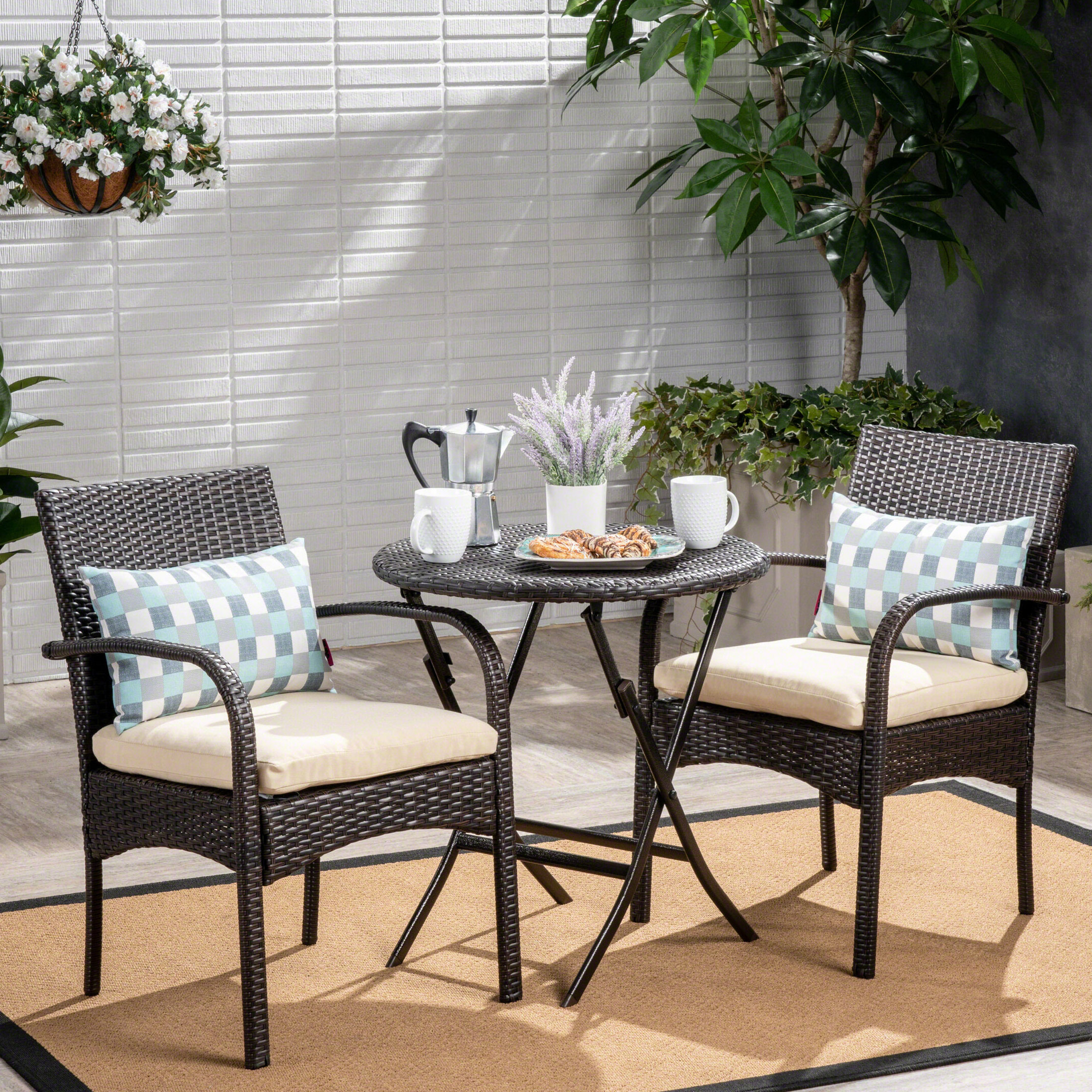Fashionable 3 Piece Patio Lounger Sets Intended For Dereham Outdoor 3 Piece Bistro Set With Cushions (View 12 of 25)