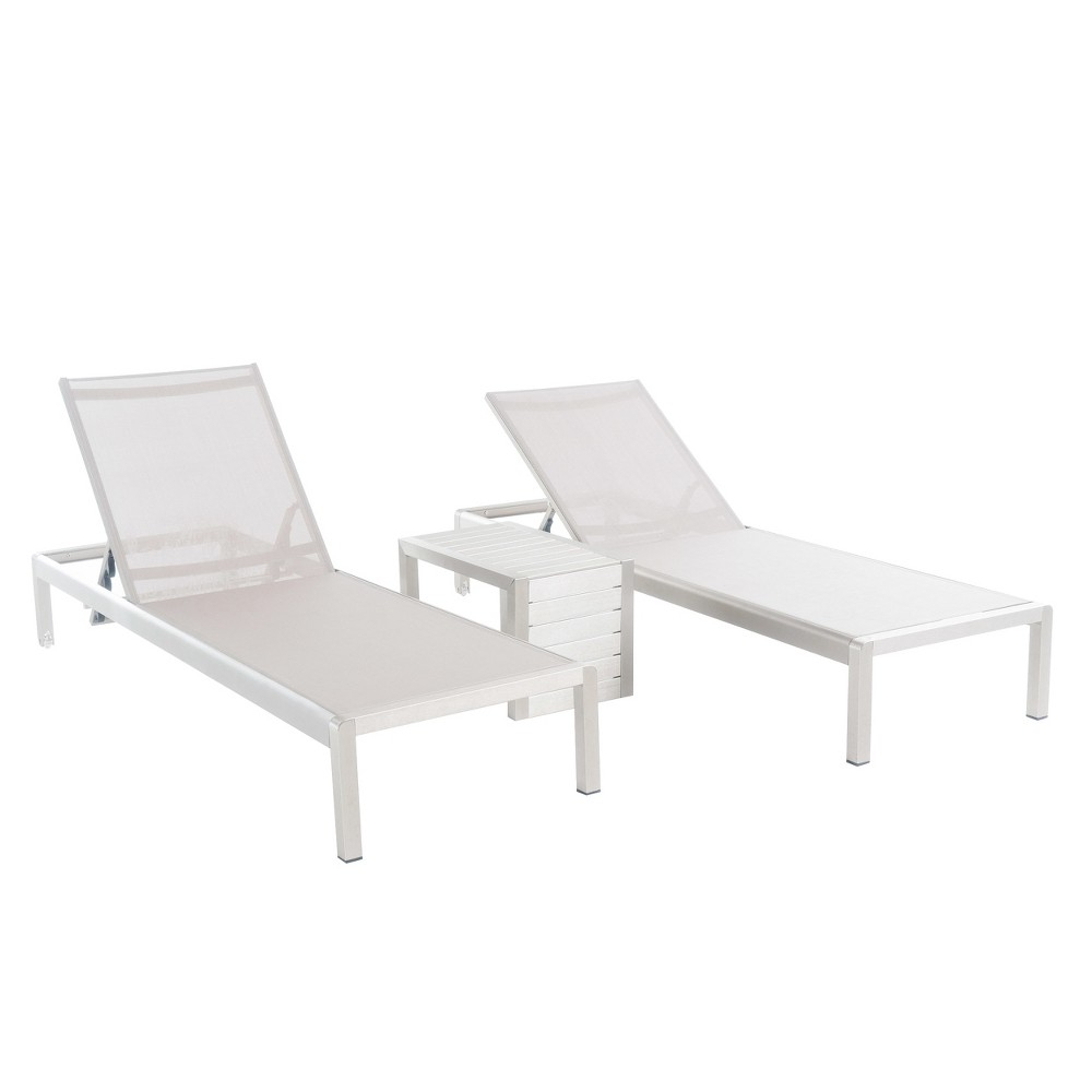 Fashionable Cape Coral Outdoor Aluminum Chaise Lounges In Cape Coral 3pc All Weather Wicker/mesh Patio Chaise W/ Side (View 21 of 25)