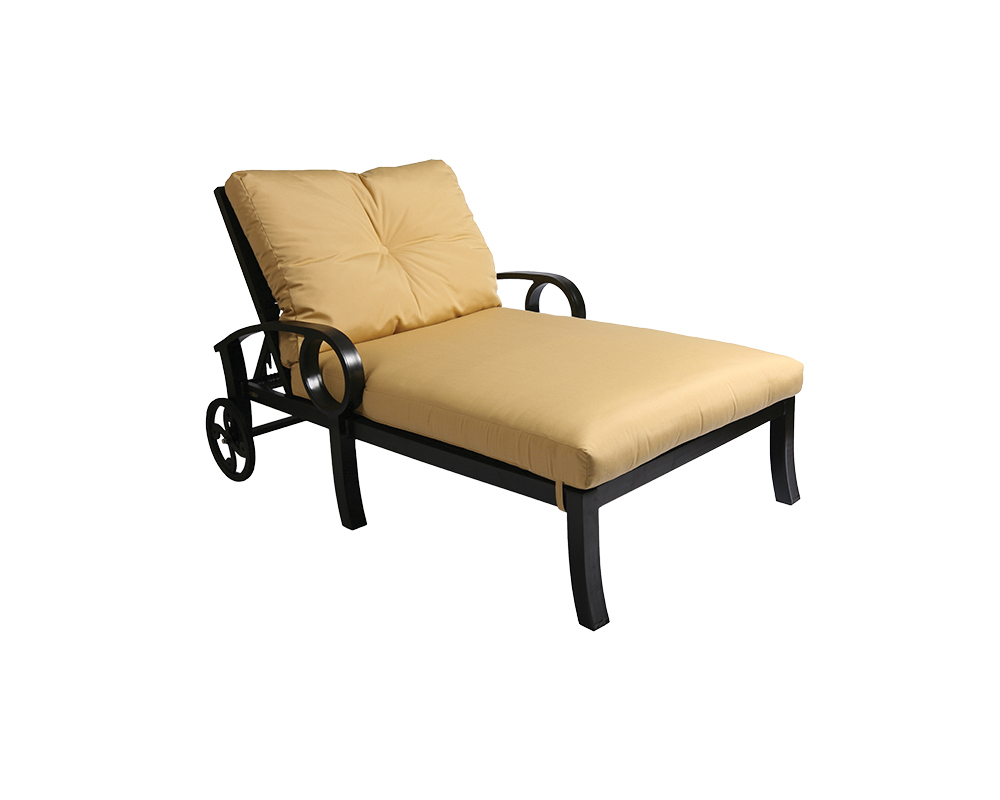 Fashionable Chaise Lounge Chairs In Bronze With Oatmeal Cushions Regarding Eclipse Chaise Lounge & A Half – Green Acres Outdoor Living (View 19 of 25)