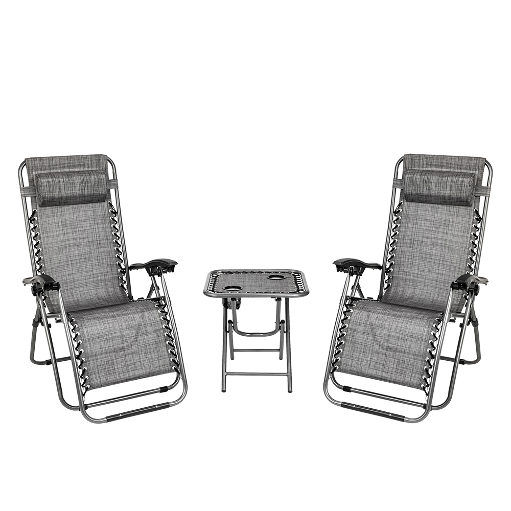 Fashionable Chaise Lounge Outdoor, 3 Piece Elastic Headrests Included Lawn Chair Set, Folding Zero Gravity Chair & Table W/ 2 Cup Holders, Uv Resistant Reclining Pertaining To Outdoor Yard Pool Recliner Folding Lounge Table Chairs (View 2 of 25)