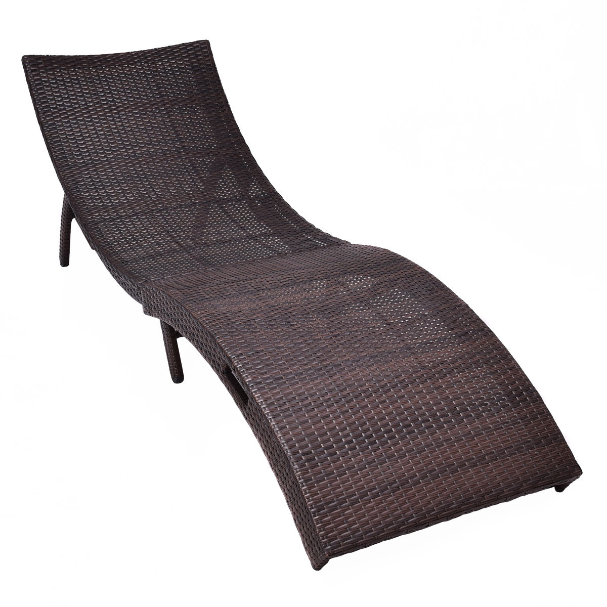 Fashionable Curved Folding Chaise Loungers Intended For Ghp 440Lbs Capacity Curved Brown Folding Rattan Patio Poolside Chaise  Lounge Chair (View 9 of 25)