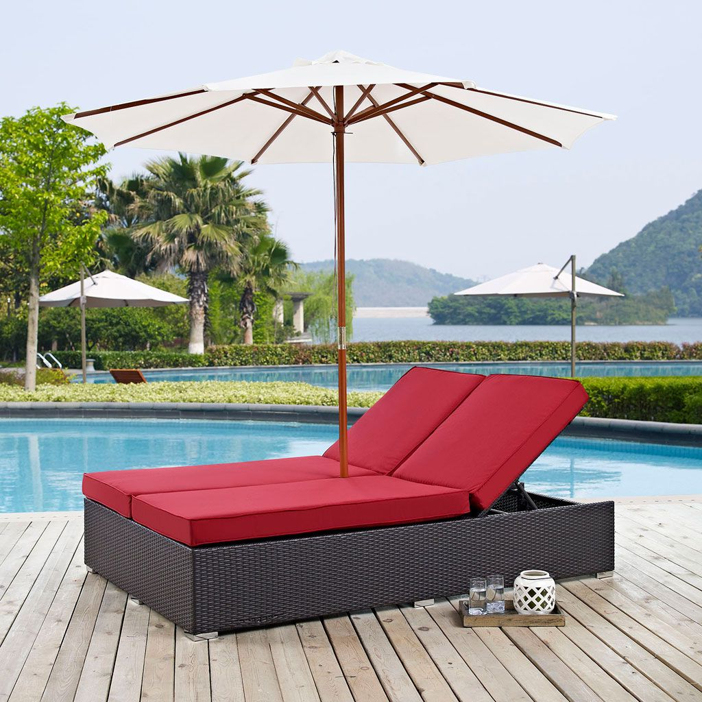 Fashionable Envisage Chaise Outdoor Patio Wicker Rattan Lounge Chairs Inside Convene Outdoor Double Chaise Lounge With Umbrella (multiple (View 13 of 25)
