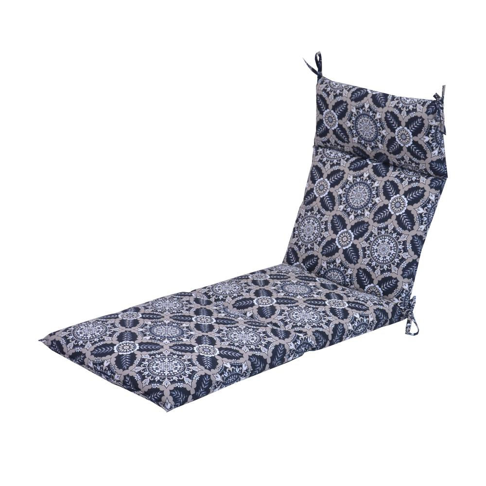 Fashionable Lattice Outdoor Patio Pool Chaise Lounges With Wheels And Cushion Inside Hampton Bay Black Tile Outdoor Chaise Lounge Cushion (View 25 of 25)