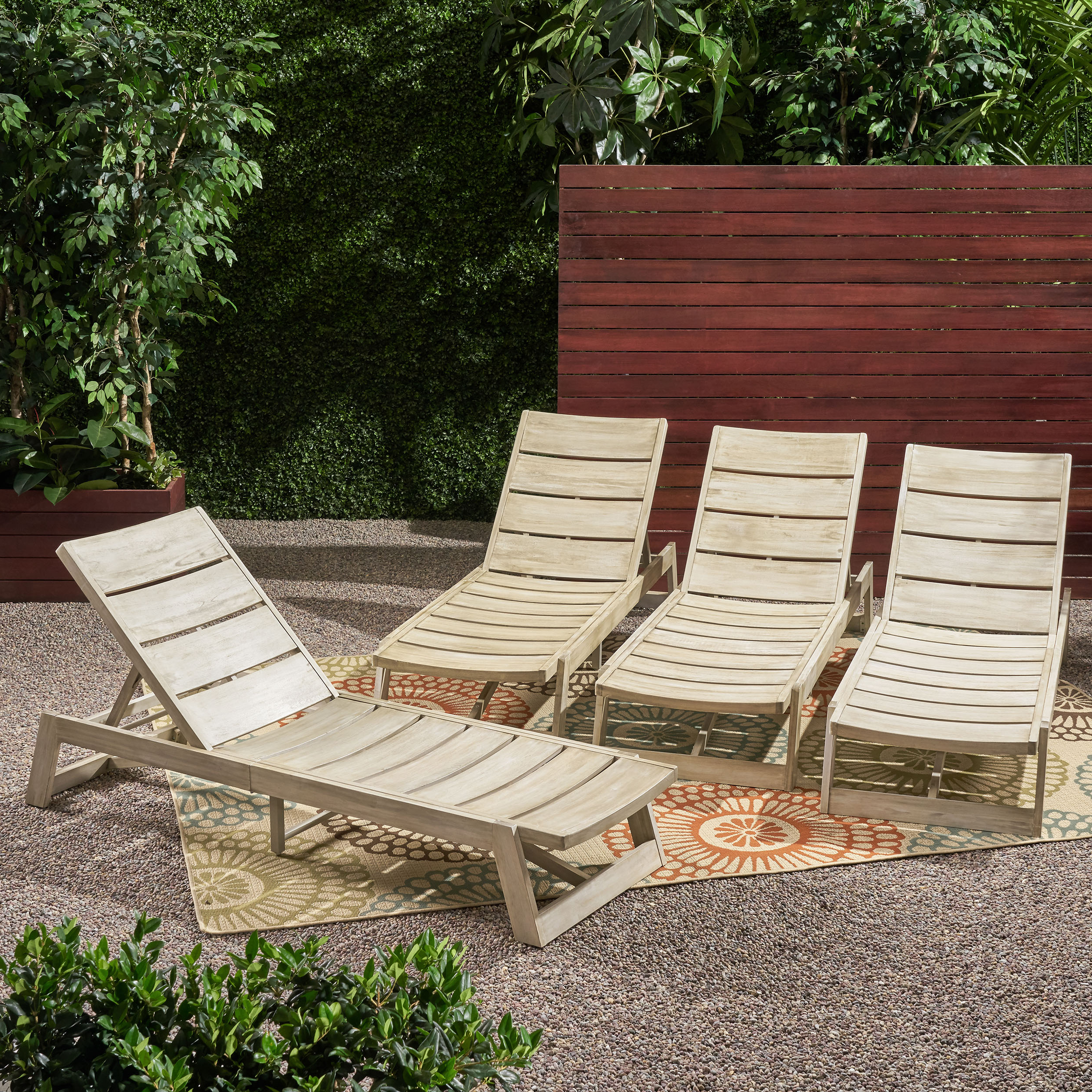 Fashionable Outdoor 3 Piece Acacia Wood Chaise Lounge Sets Within Details About Melissa Outdoor Acacia Wood Chaise Lounge (Set Of 4) (View 9 of 25)