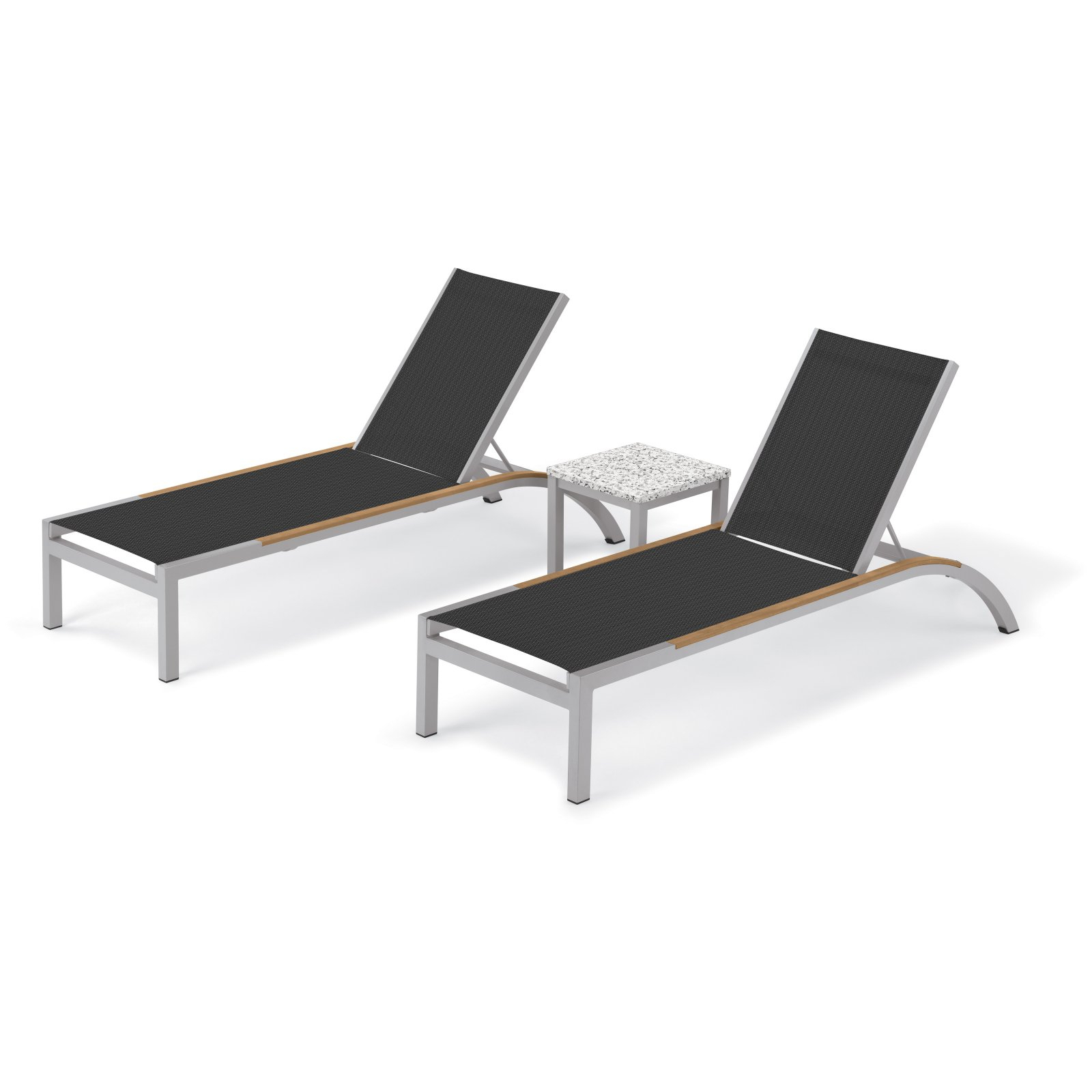 Fashionable Outdoor 3 Piece Chaise Lounger Sets With Table Throughout Oxford Garden Argento 3 Piece Stacking Outdoor Chaise Lounge (View 10 of 25)