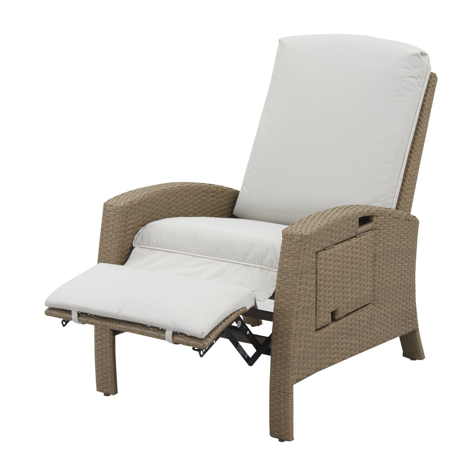 Fashionable Outdoor Adjustable Rattan Wicker Recliner Chairs With Cushion Pertaining To Outsunny Outdoor Rattan Wicker Adjustable Recliner Lounge Chair (View 8 of 25)