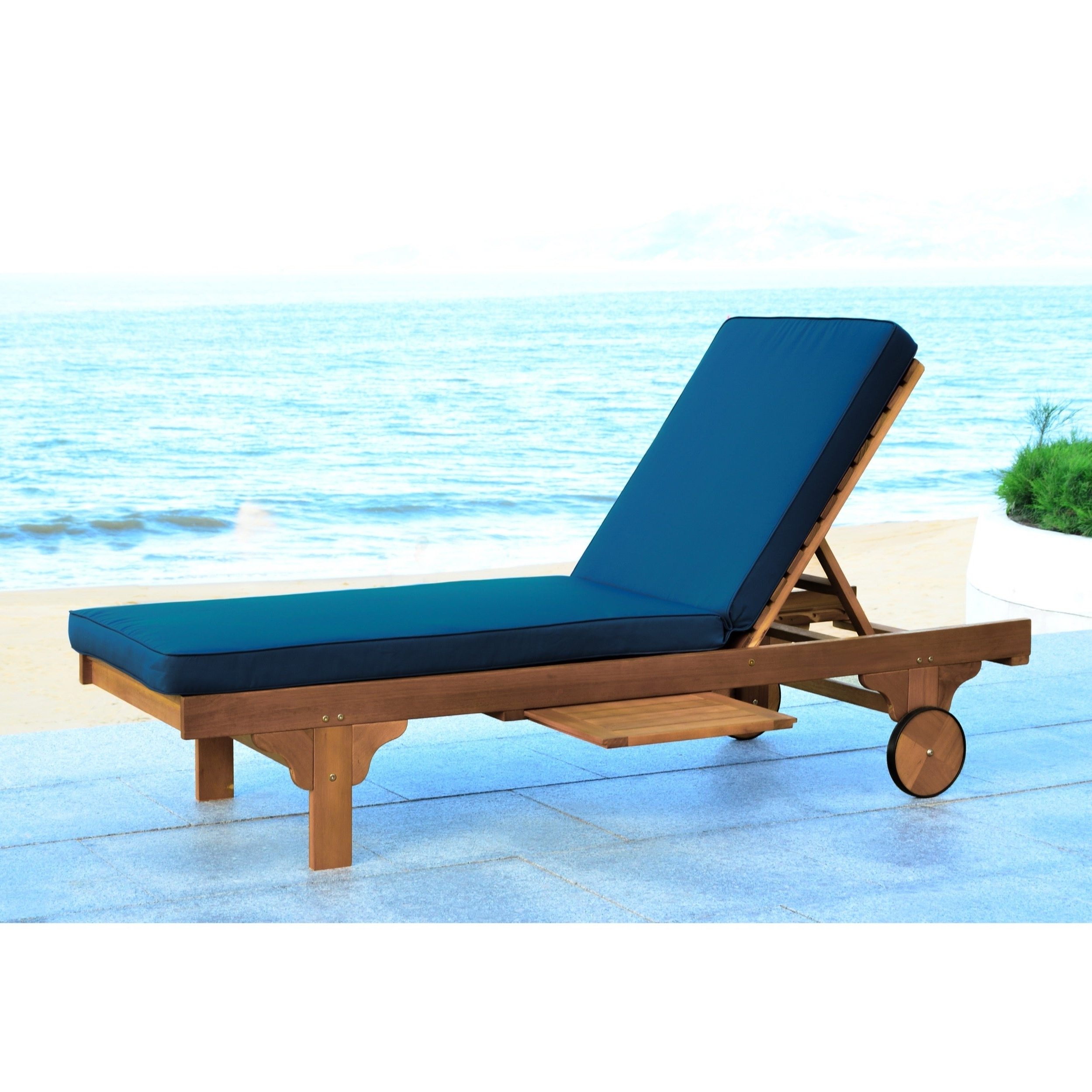 Featured Photo of Outdoor Cart Wheel Adjustable Chaise Lounge Chairs