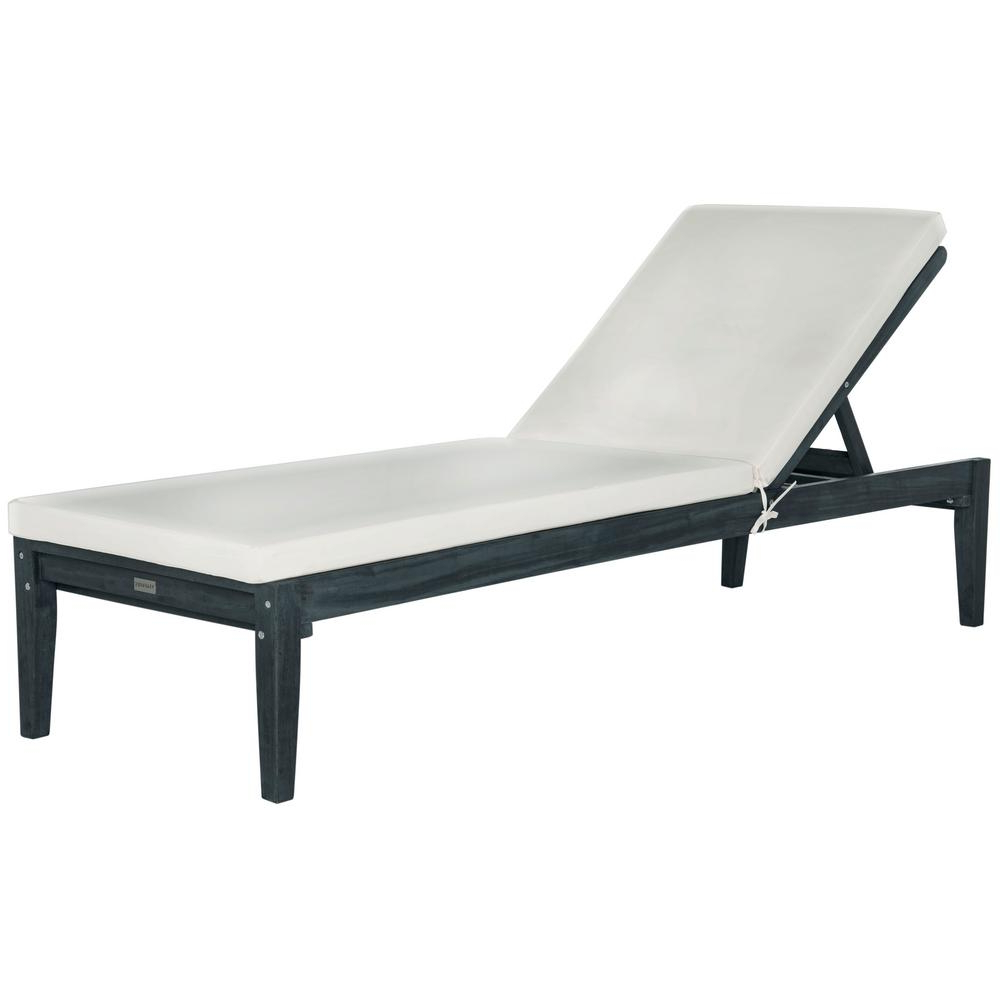 Fashionable Outdoor Living Pomona Sunloungers Regarding Safavieh Azusa Dark Slate Gray Adjustable Wood Outdoor Lounge Chair With  Beige Cushion (View 2 of 25)