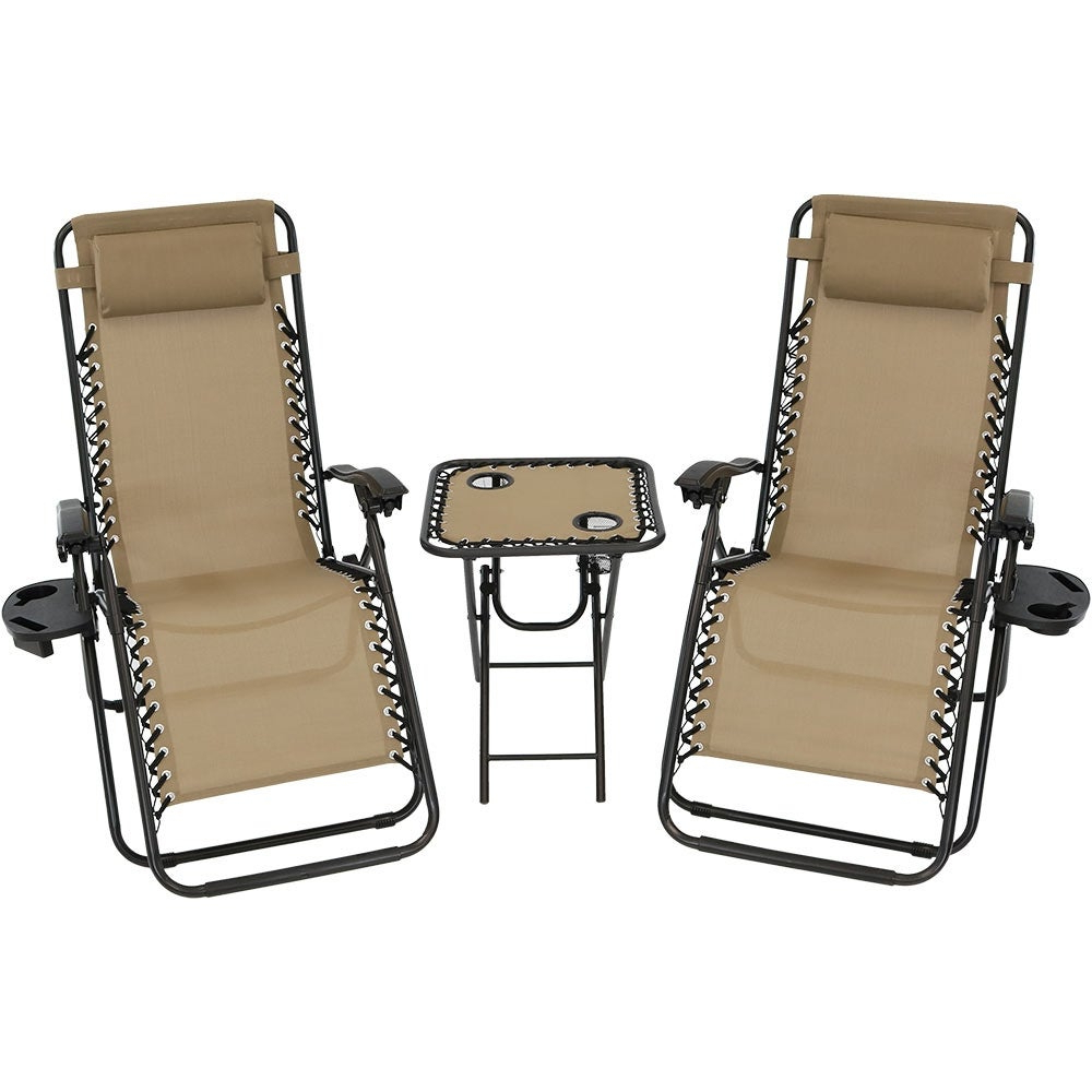Fashionable Plum Blossom Lock Portable Saucer Khaki Folding Chairs For Sunnydaze Zero Gravity Furniture, Choose 2 Chairs And 1 Side Table Or Side Table Only (View 25 of 25)