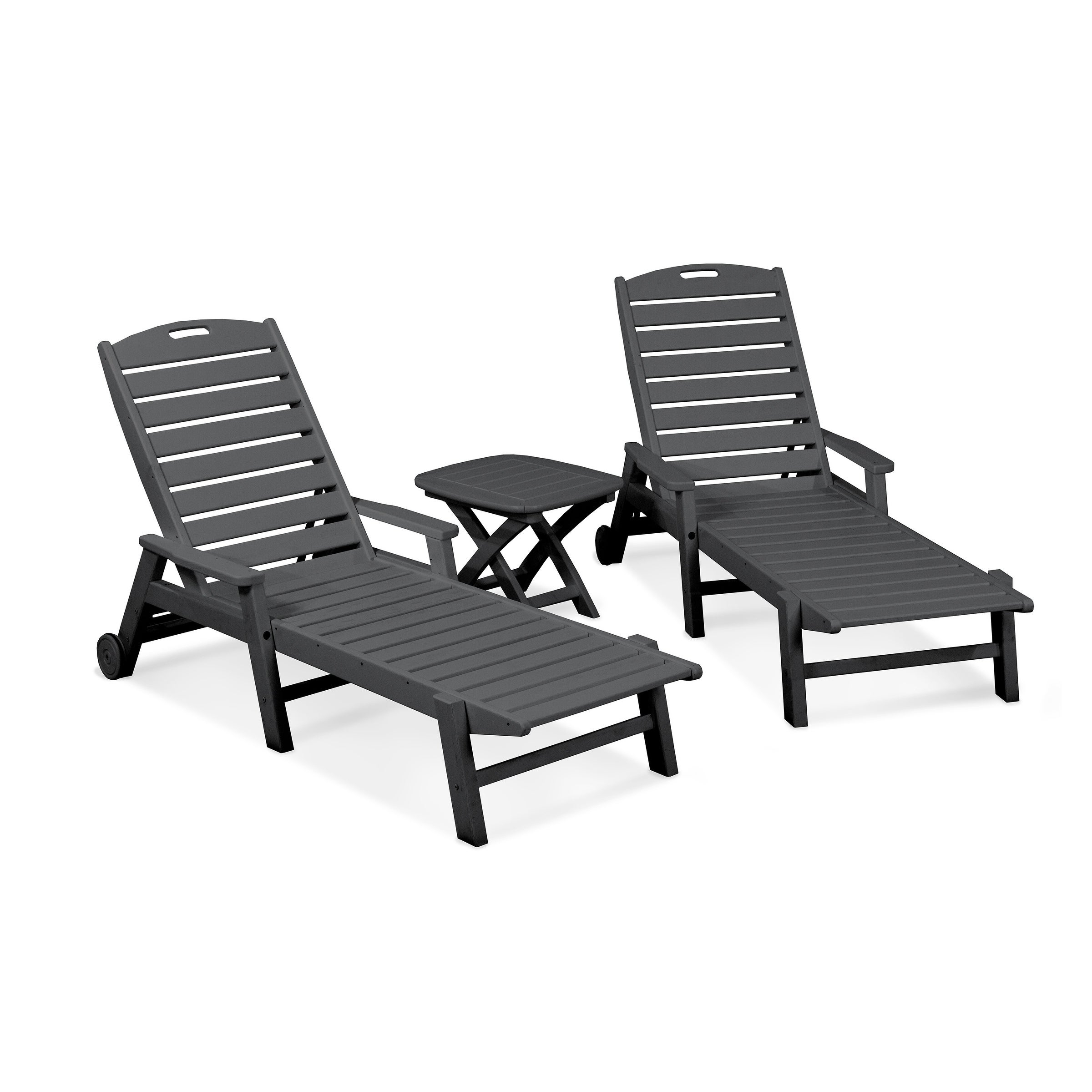 Fashionable Polywood® Nautical 3 Piece Outdoor Chaise Lounge Set With Wheels And Table With Nautical Wheeled Stackable Chaise Lounges (View 12 of 25)